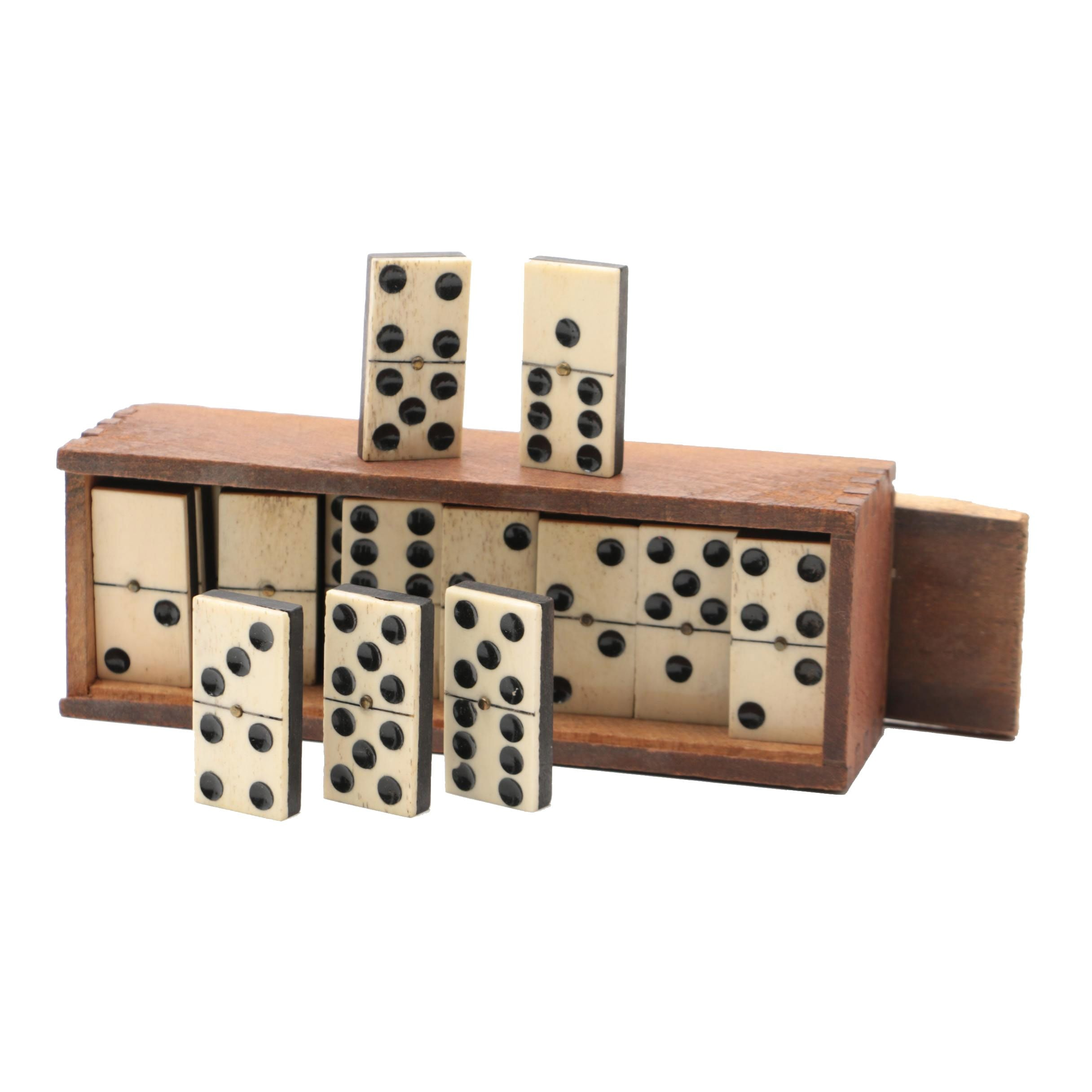 Carved Bone Dominoes in Wood Box