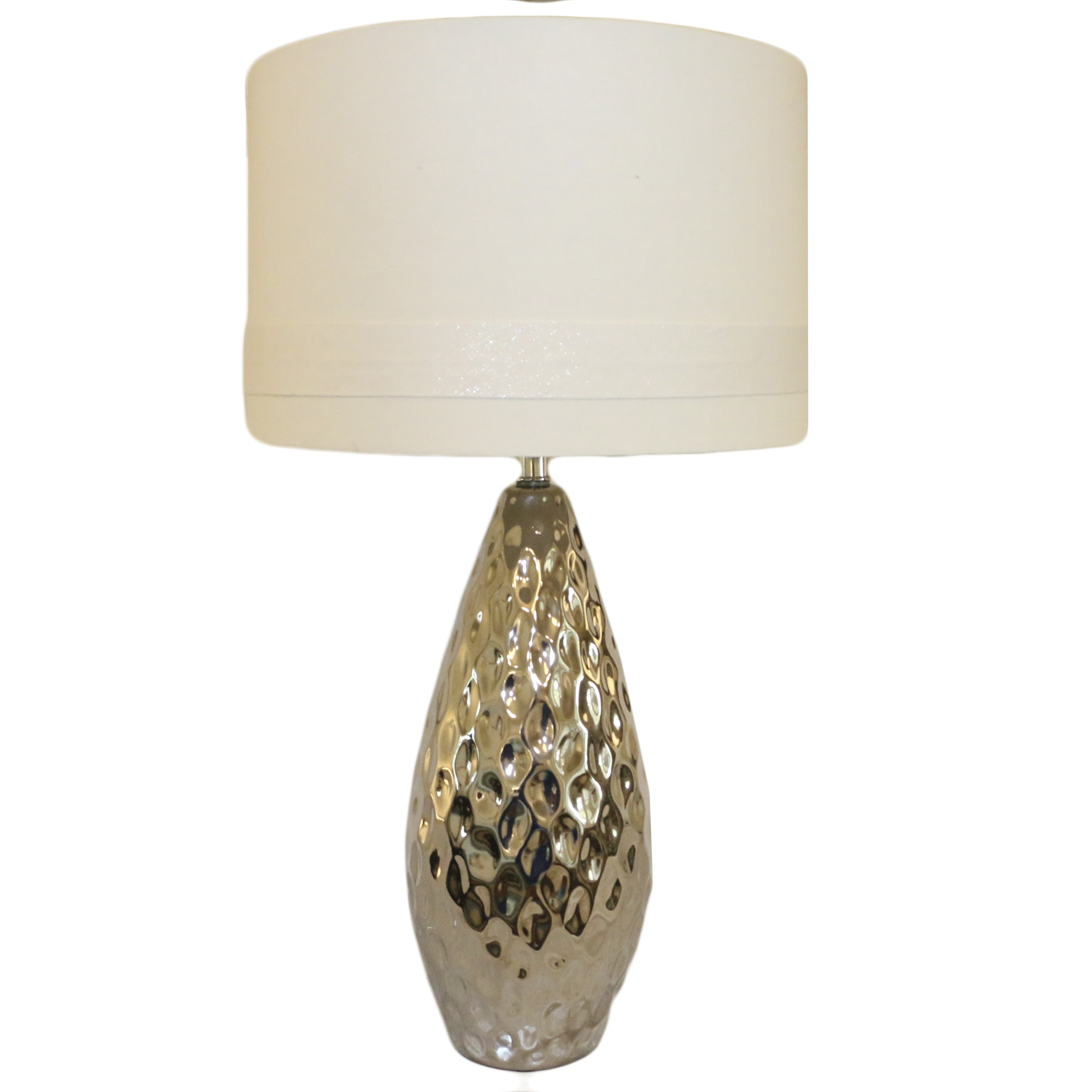 Metallic Ovoid Table Lamp with Barrel Shade