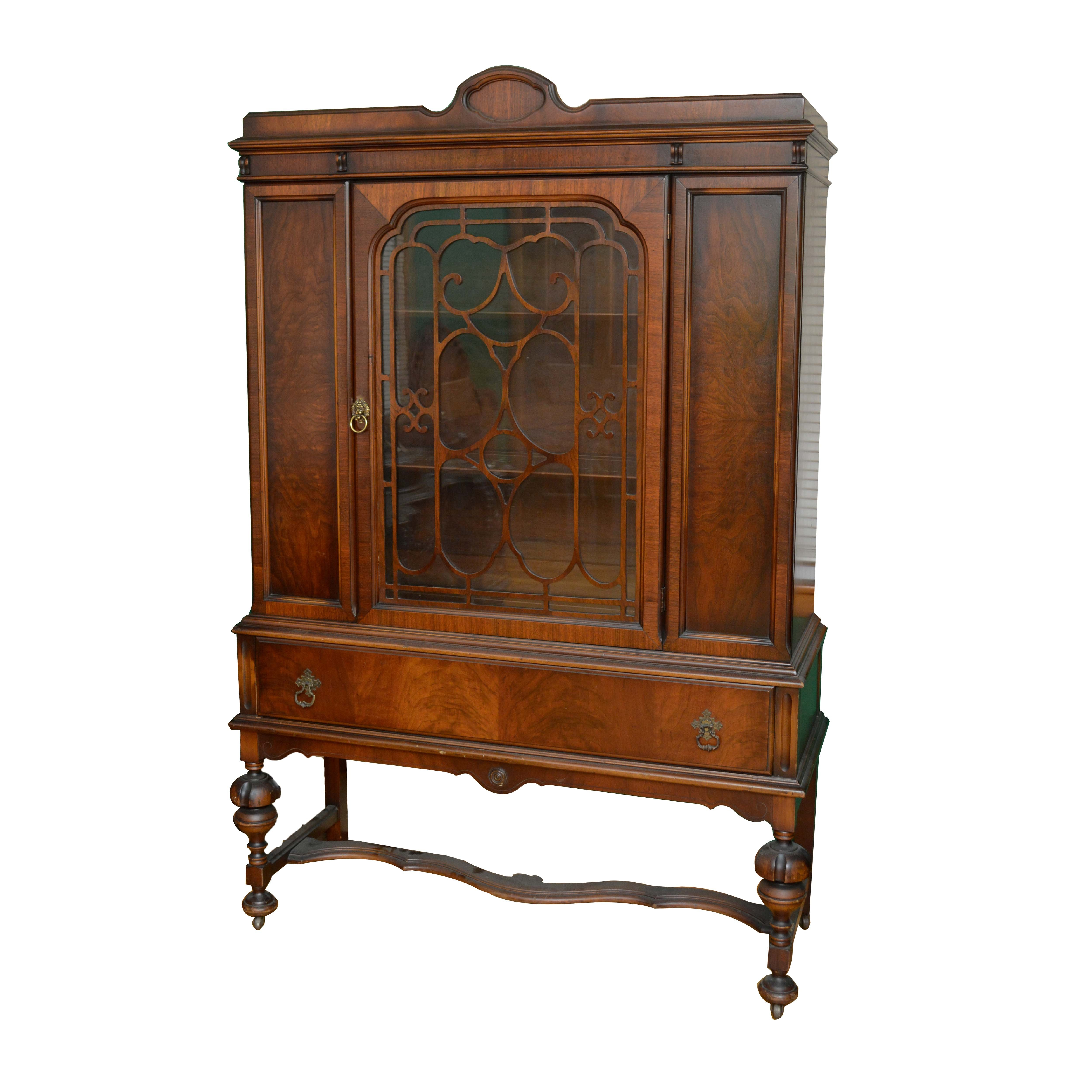 Jacobean Revival Style Burl Wood China Cabinet, Early 20th Century