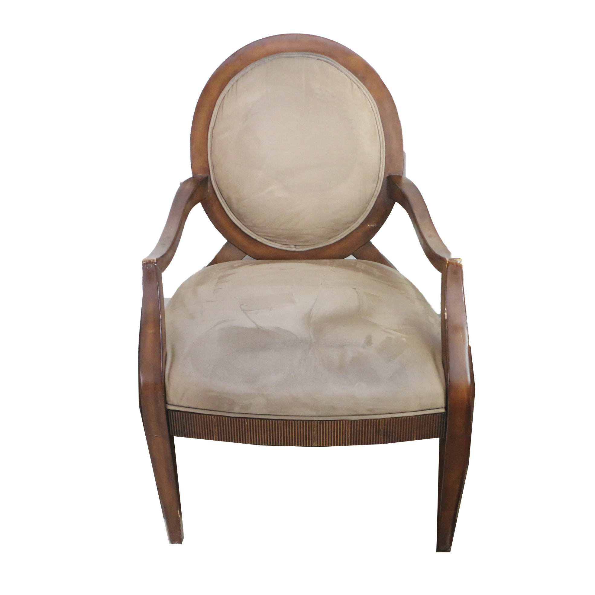 Contemporary Upholstered Oval Back Armchair