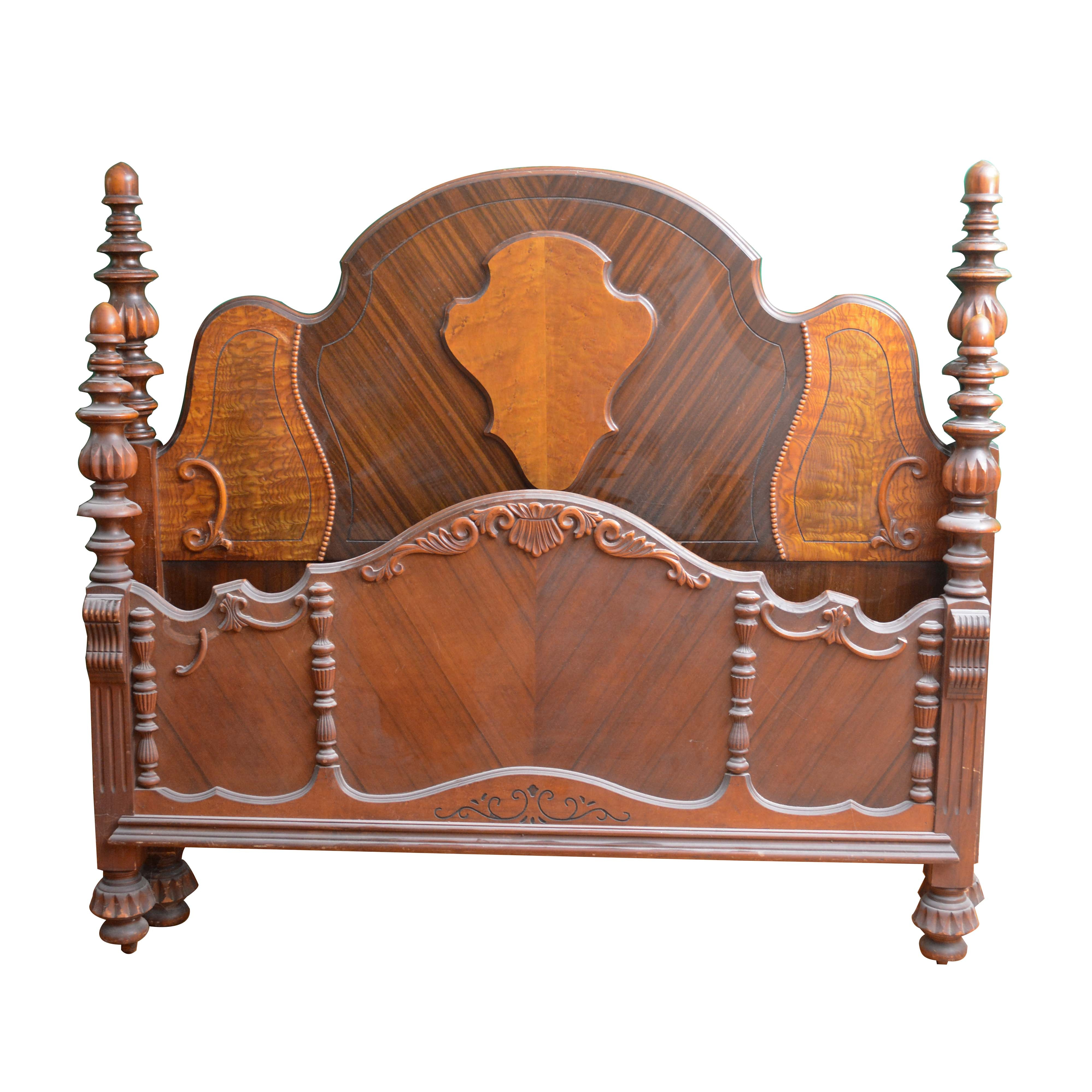 Jacobean Revival Style Full Size Headboard and Footboard, Early 20th Century