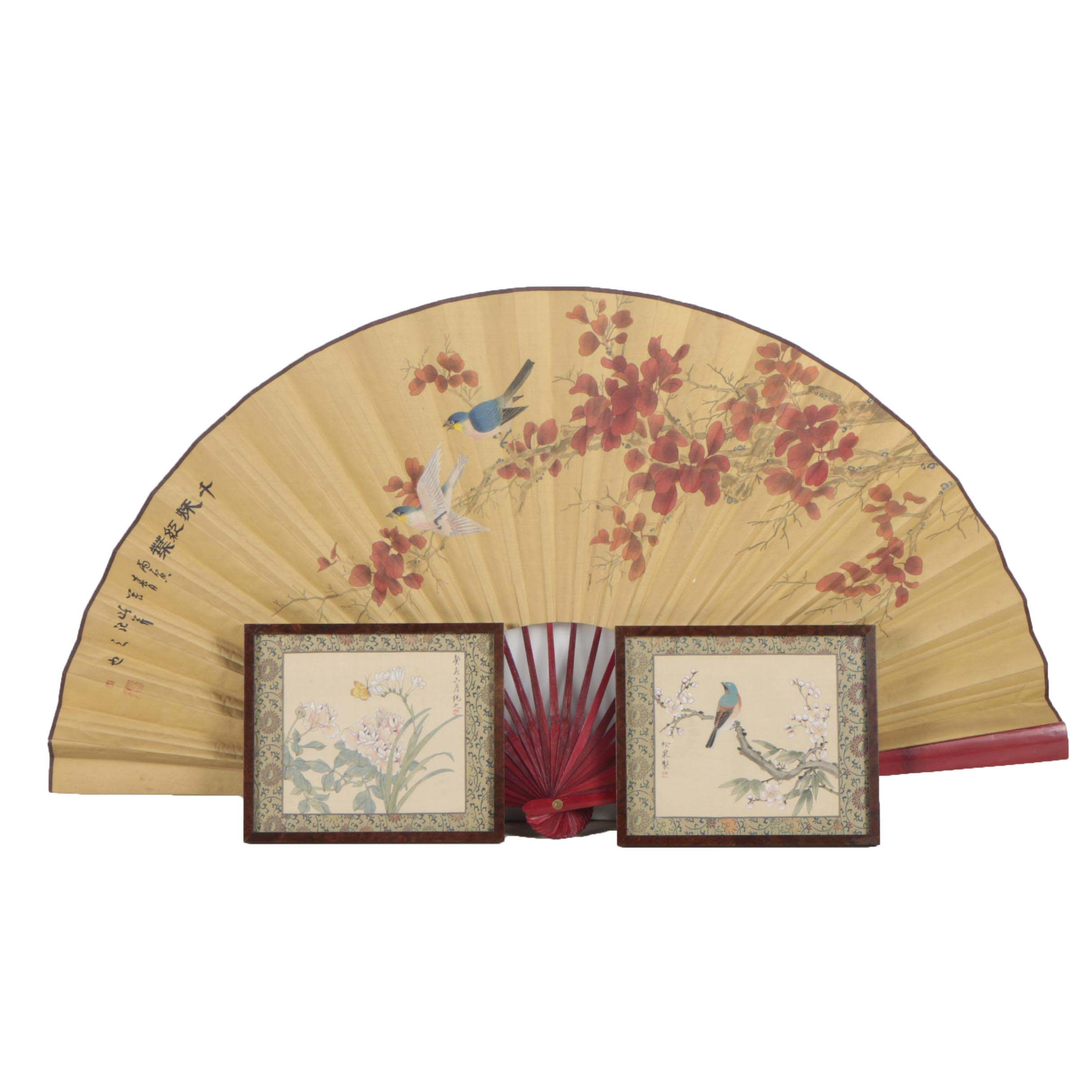 Chinese Watercolor and Gouache Paintings and Oversize Fan