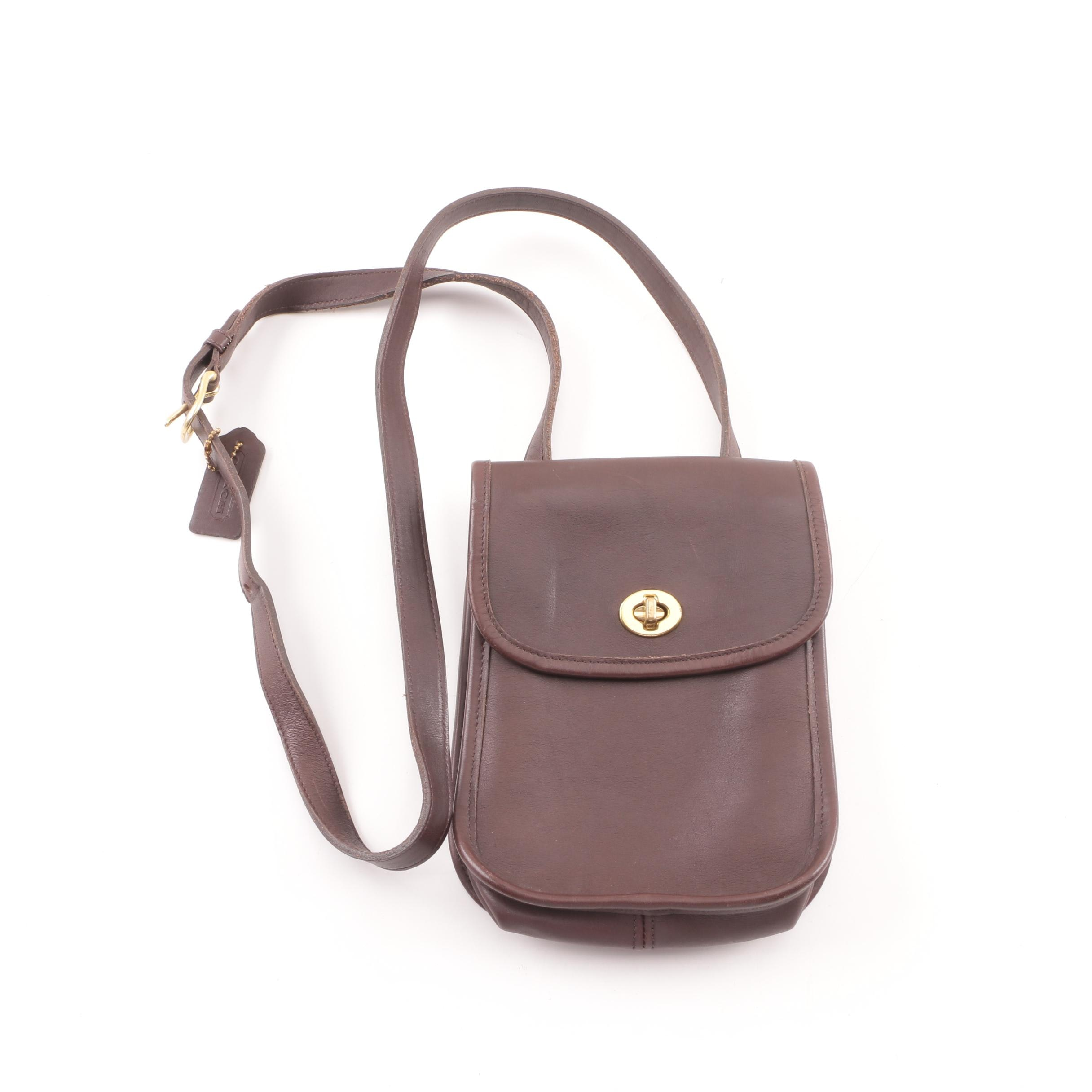 1997 Vintage Coach Scooter Small Side Pack Brown Leather Crossbody Bag