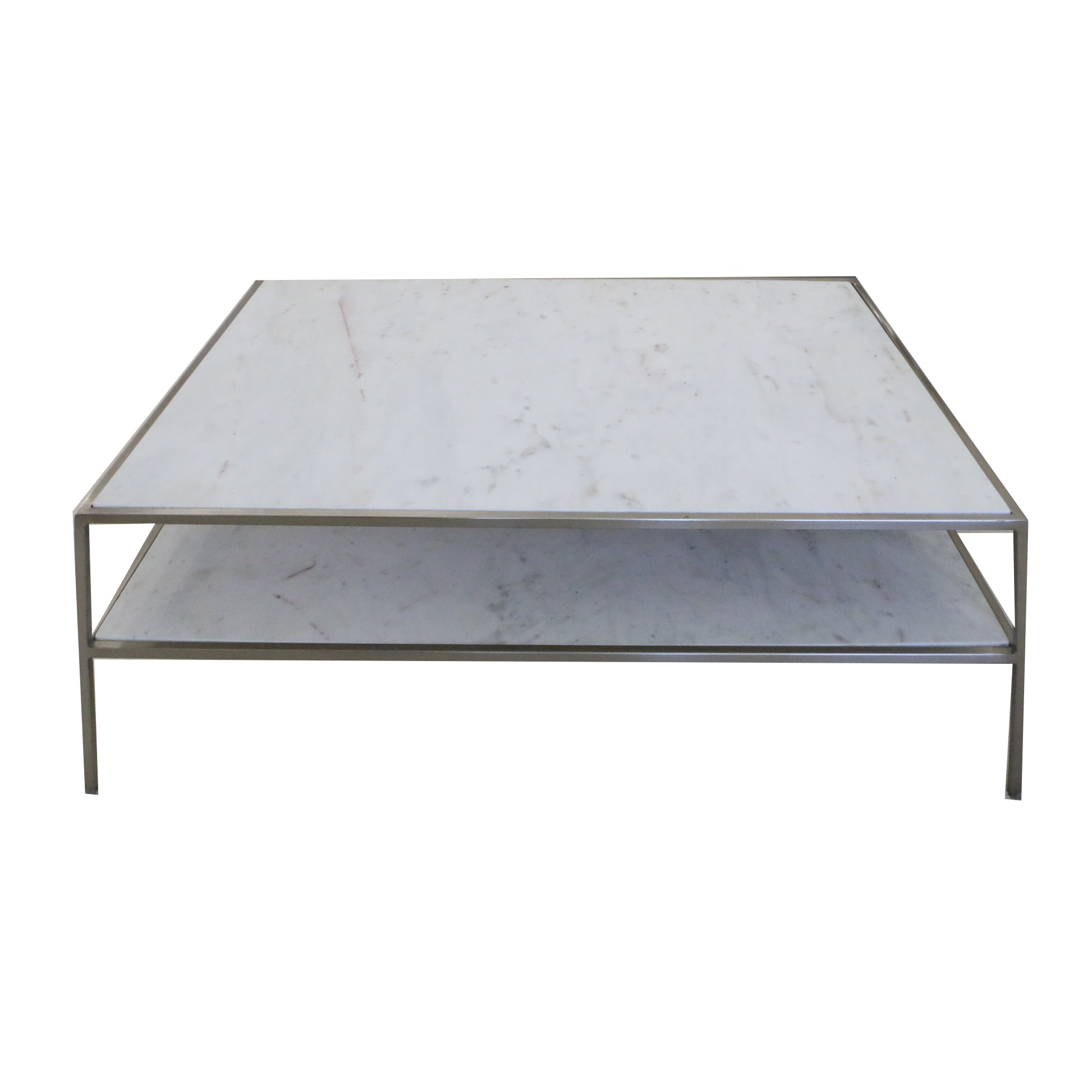 Contemporary Two-Tier Marble Panel Coffee Table