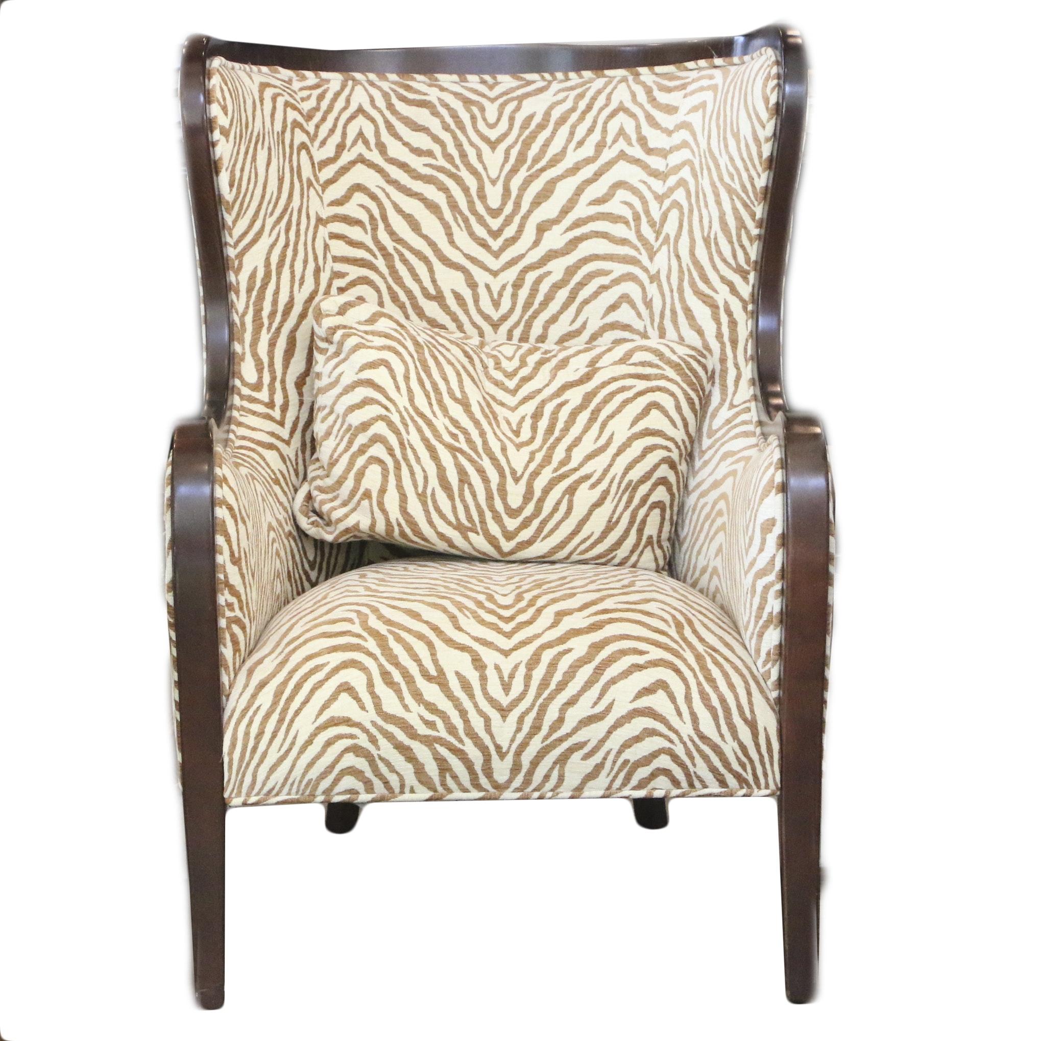 Empire Style Animal Print Upholstered Armchair, 21st Century