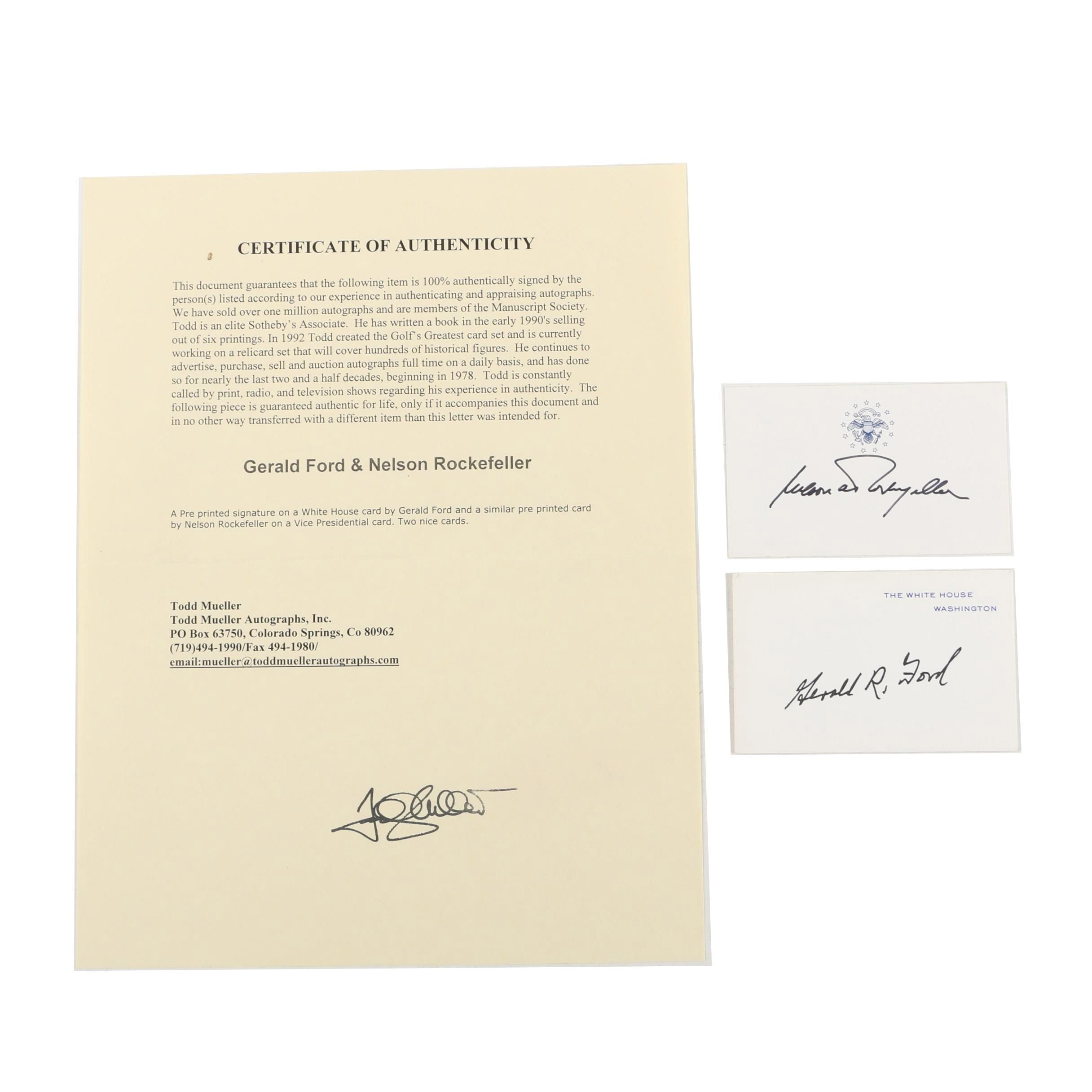 Gerald Ford and Nelson Rockefeller Autographed Cards