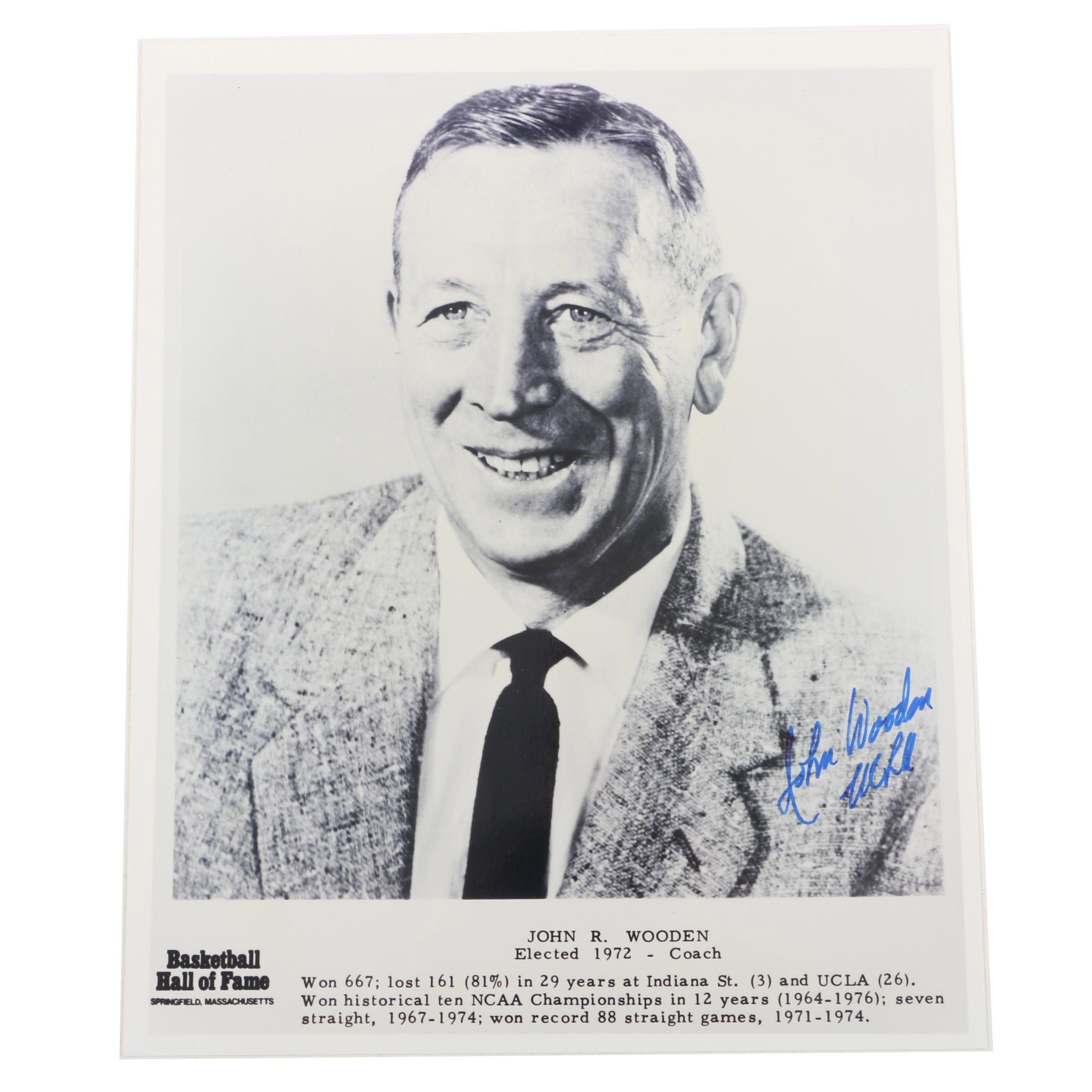 Signed John Wooden Photograph