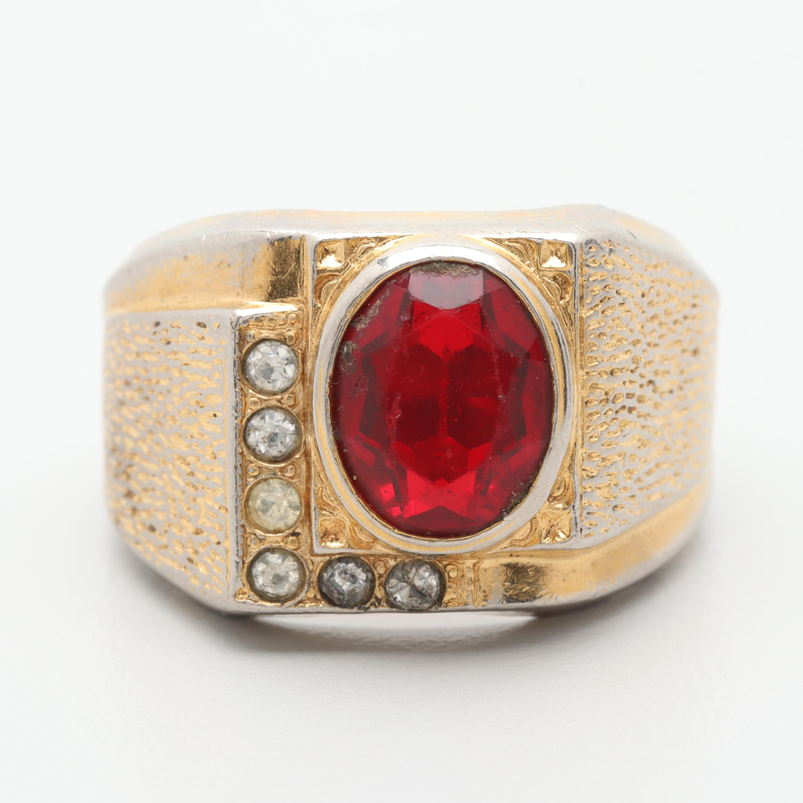 Gold Tone and Silver Tone Glass Ring