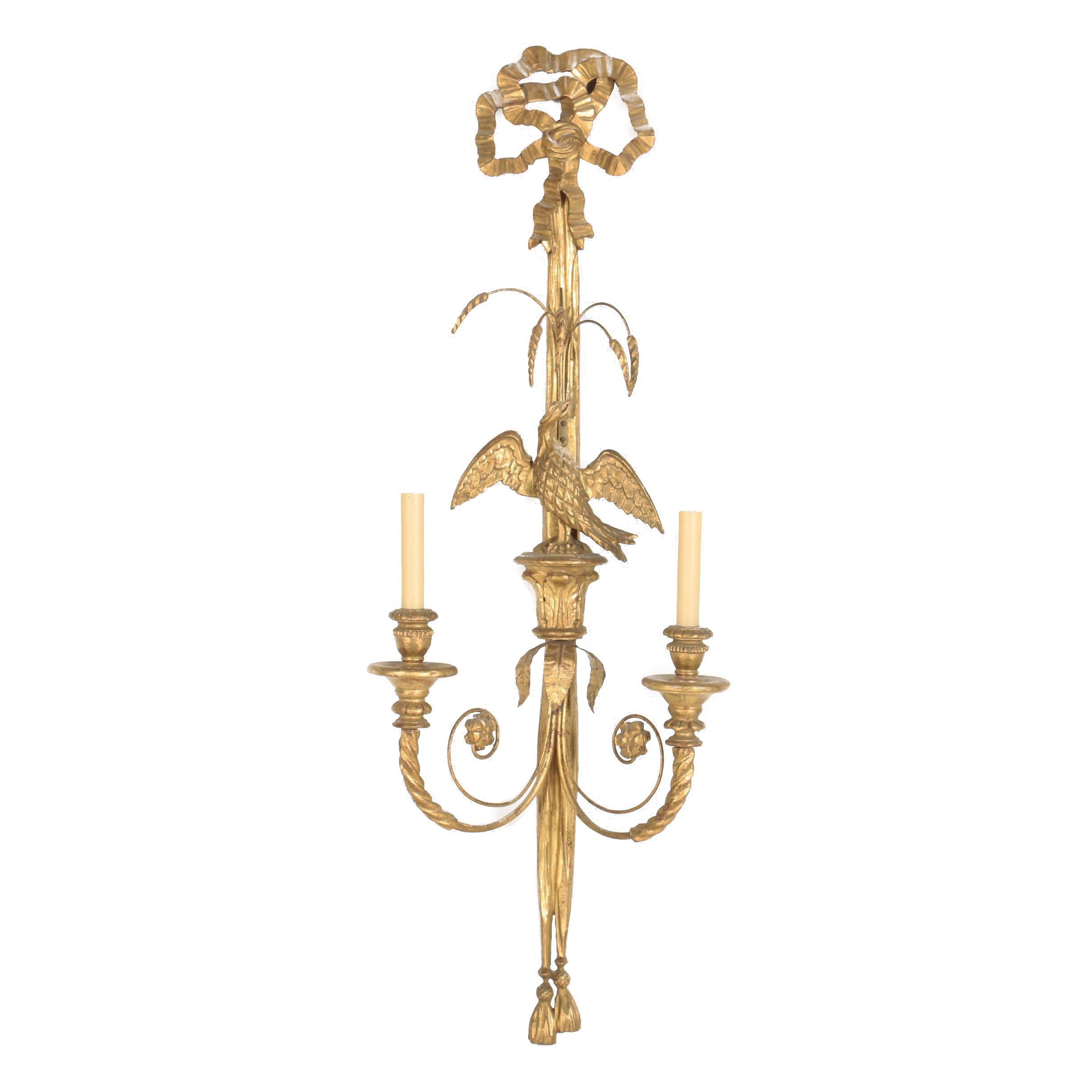 Giltwood French Style Perched Eagle Wall Sconce