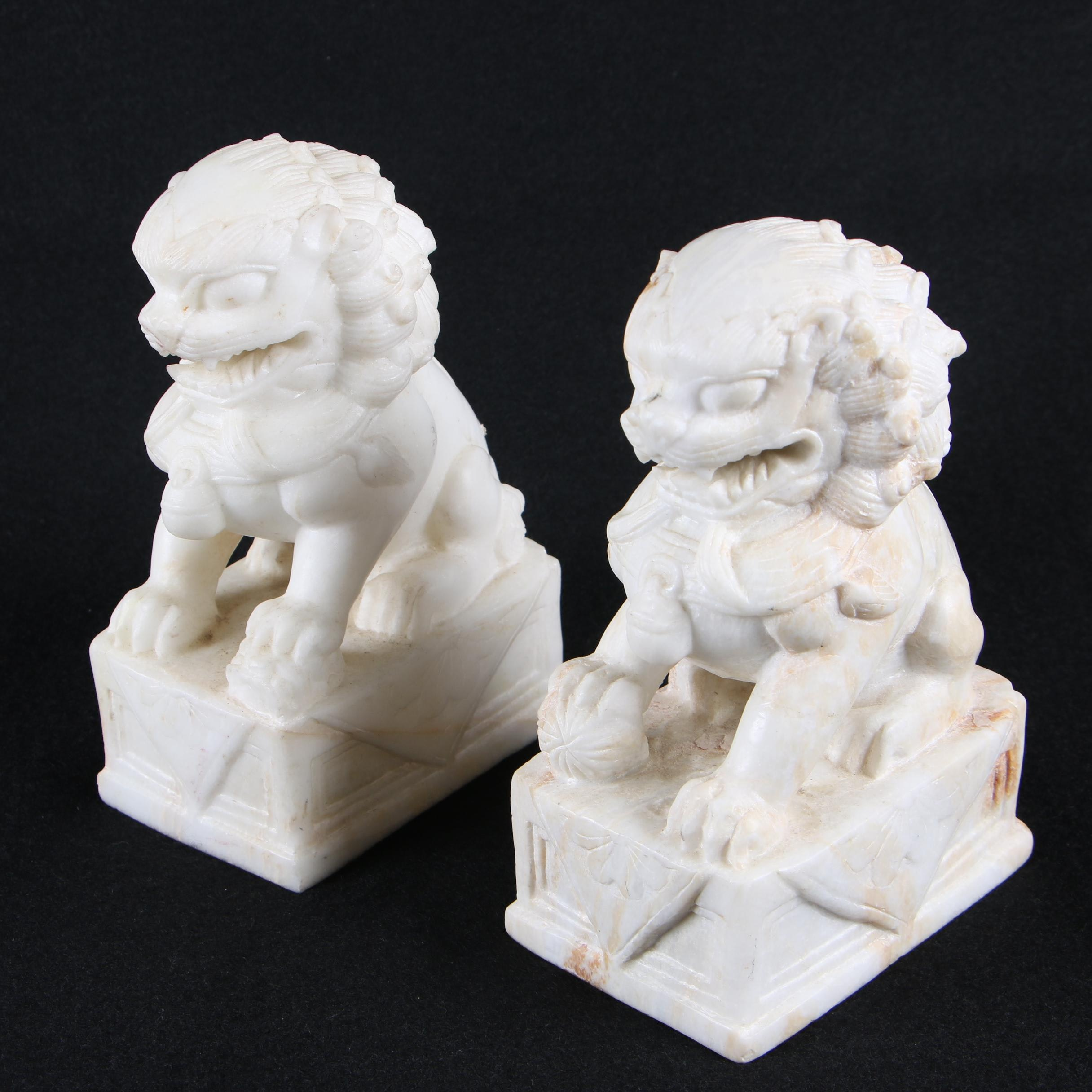 Chinese Carved Onyx Guardian Lion Bookends