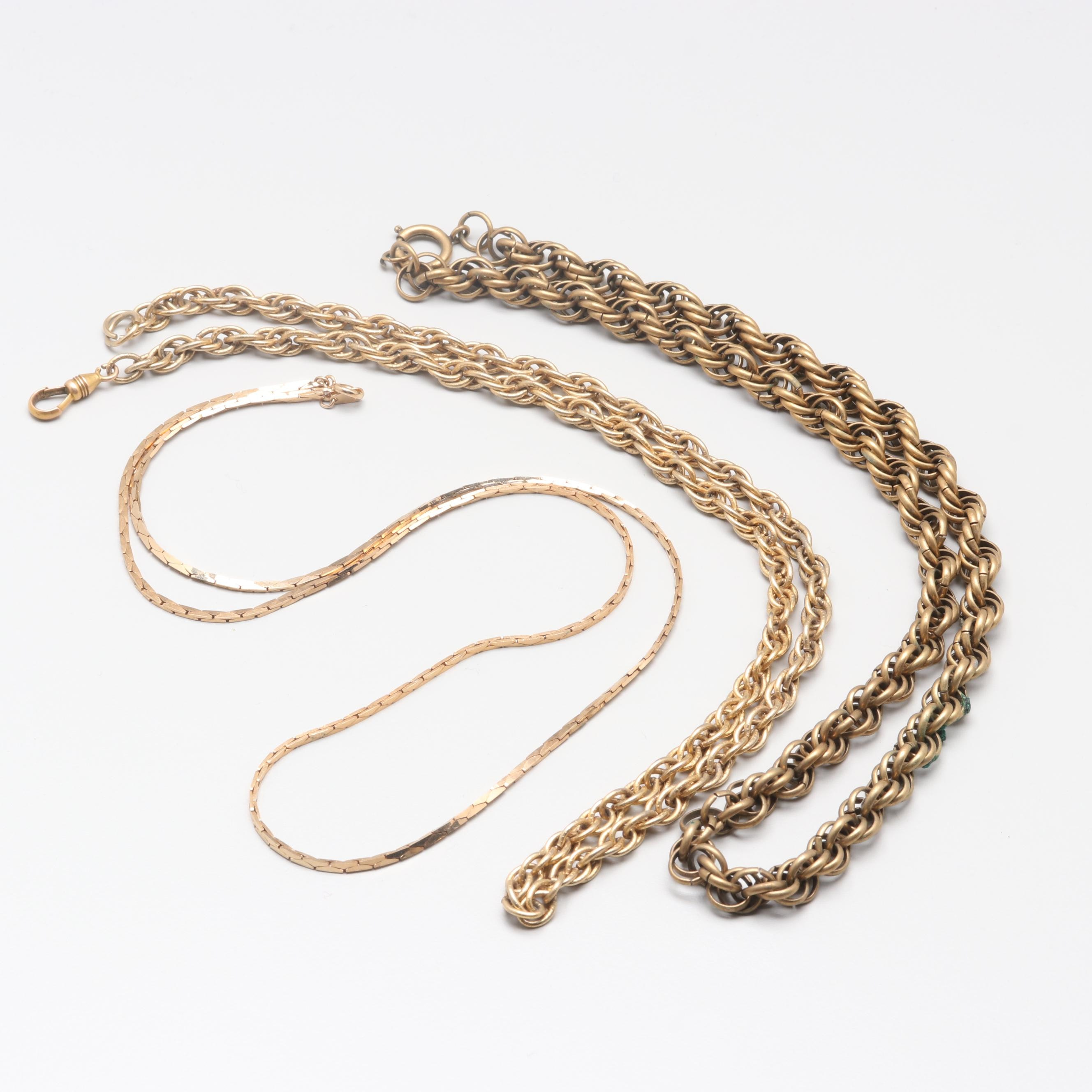 Gold Tone Rope and Cobra Chain Necklaces