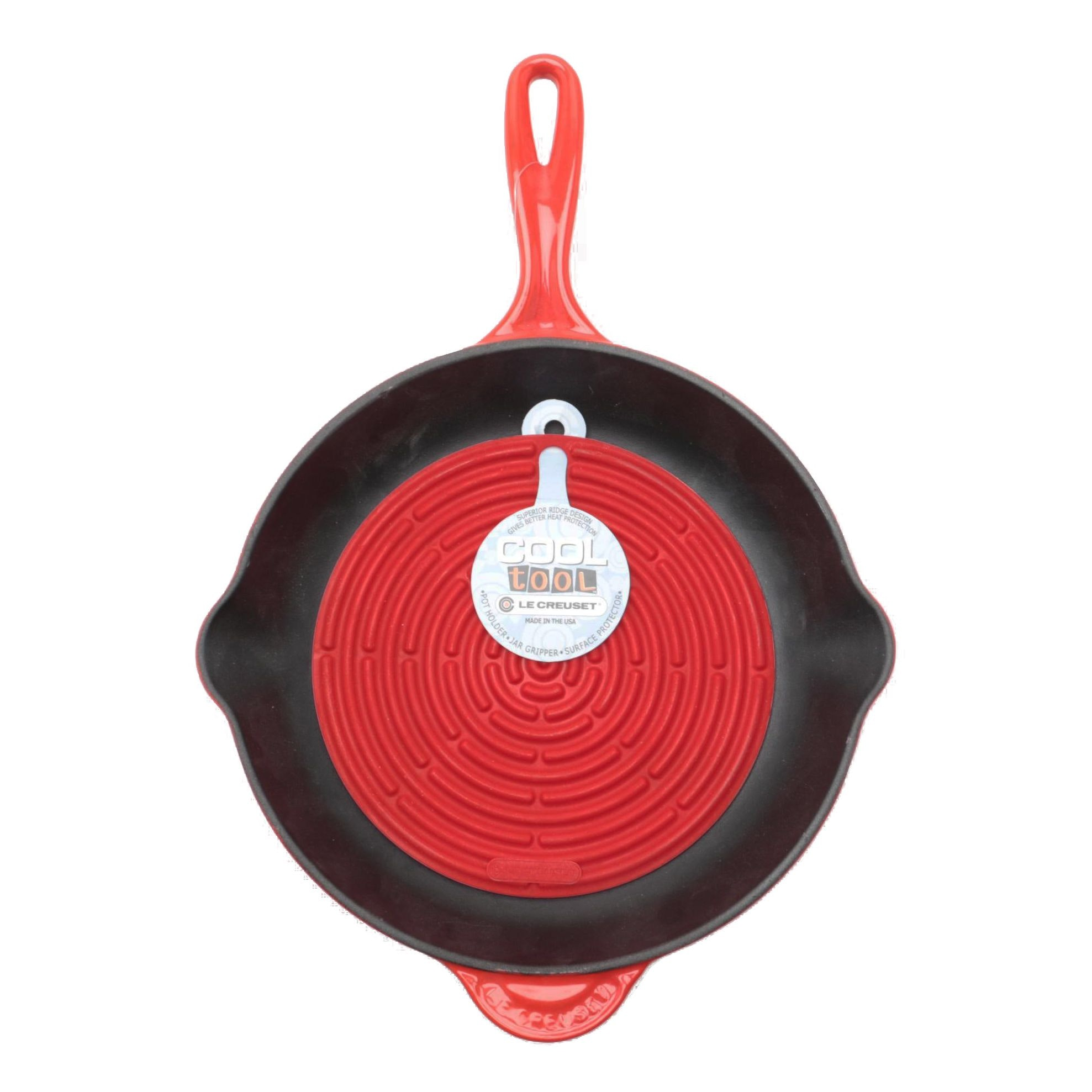 """Le Creuset Enameled Cast Iron Skillet Pan with """"Cool Tool"""" Pot Holder"""