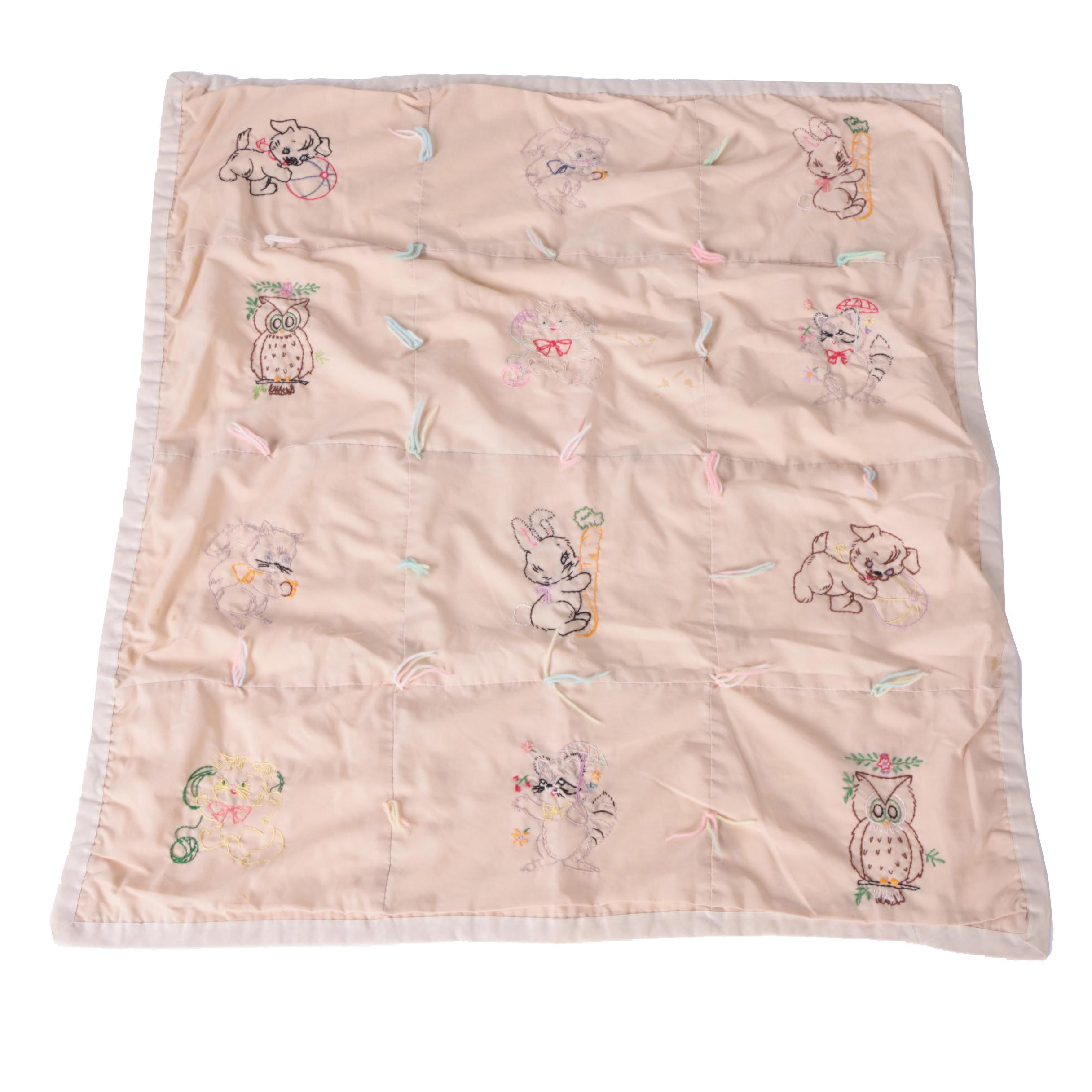 Children's Blanket with Embroidered Animals