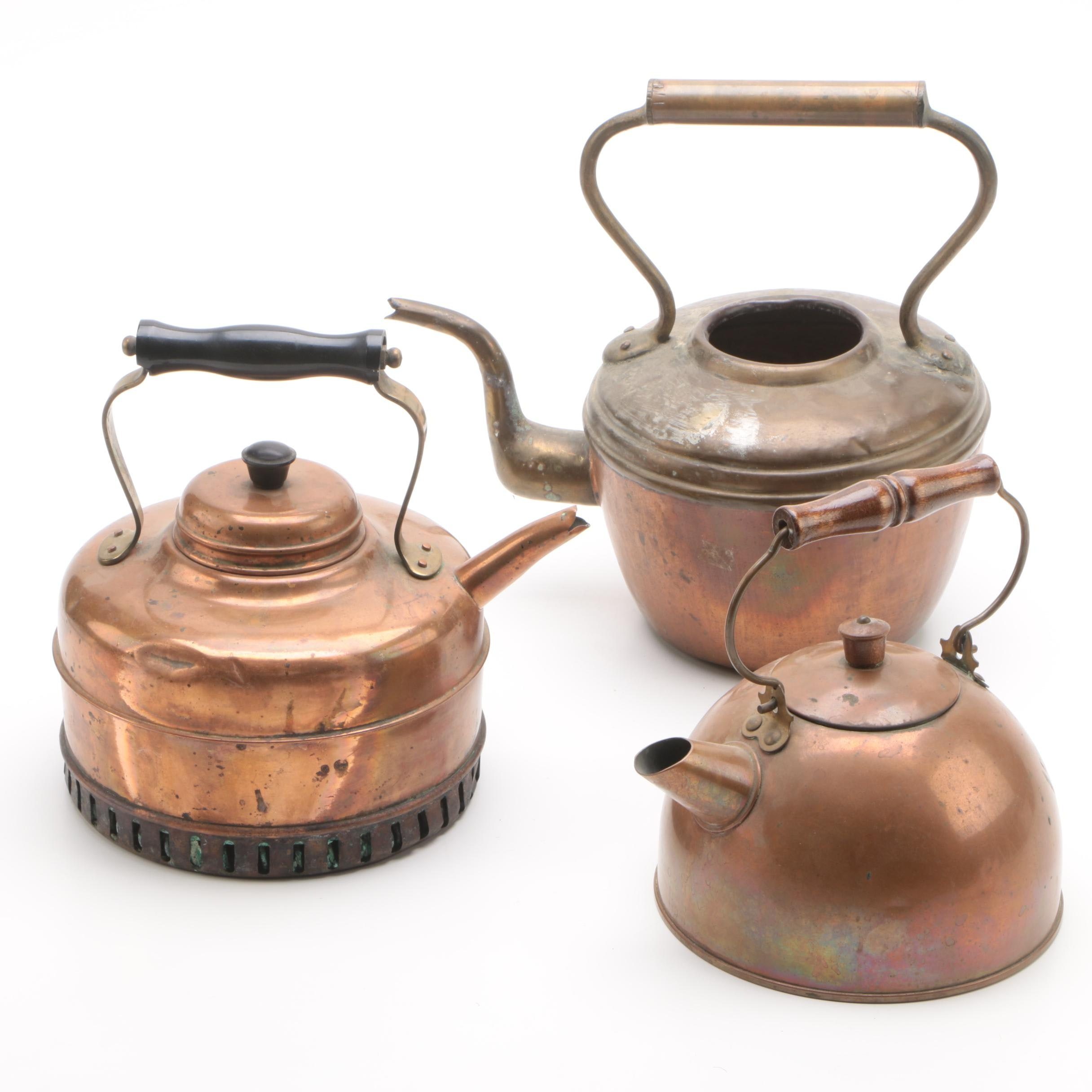 Vintage Copper and Brass Tea Kettles featuring Revere Ware