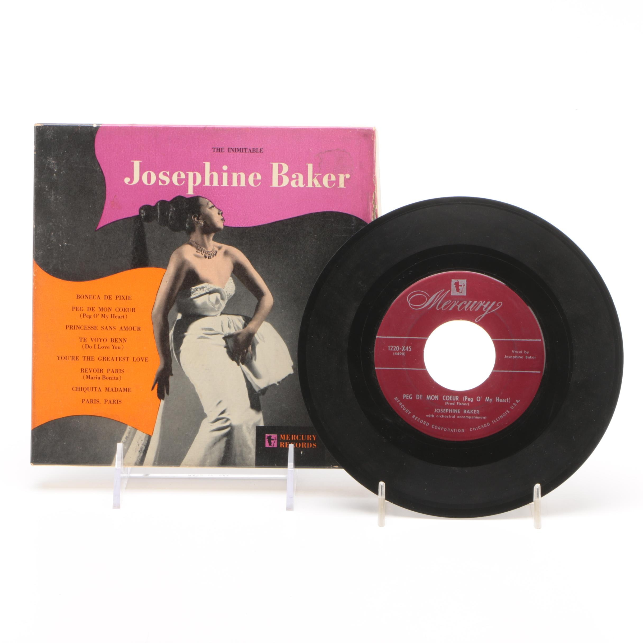"""Two Records From """"The Inimitable Josephine Baker"""" 45 RPM Box Set"""