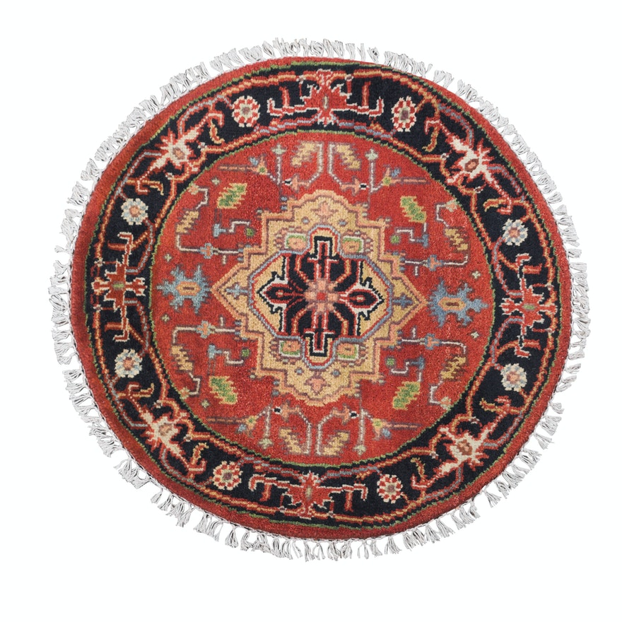 Hand Knotted Indo Persian Heriz Round Accent Rug