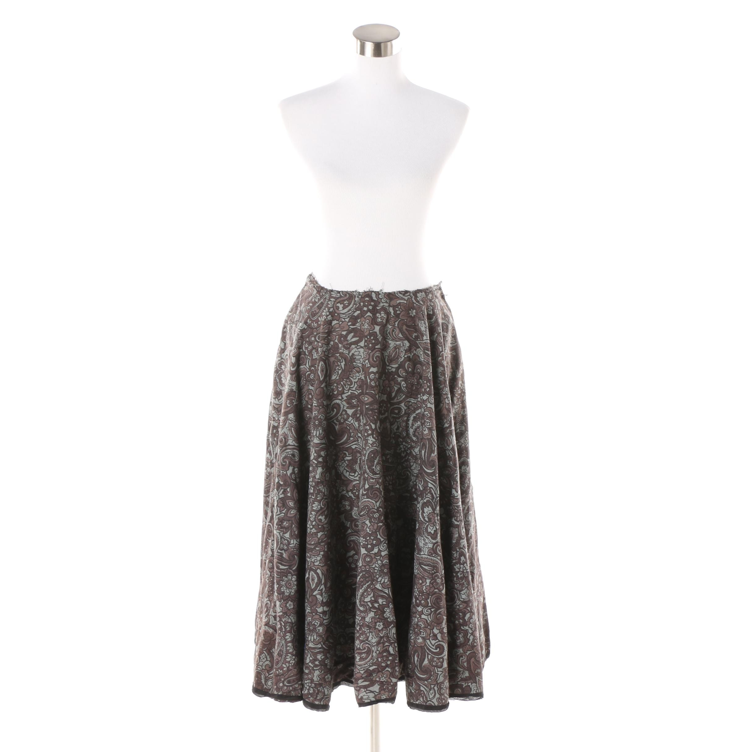 Women's Unfinished Wool and Silk Blend Floral and Paisley Circle Skirt