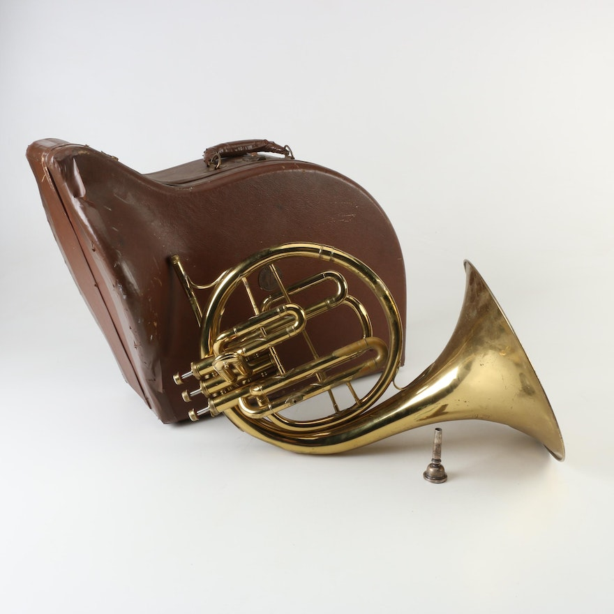 1953 Conn Pan American Brass French Horn with Piston Valves