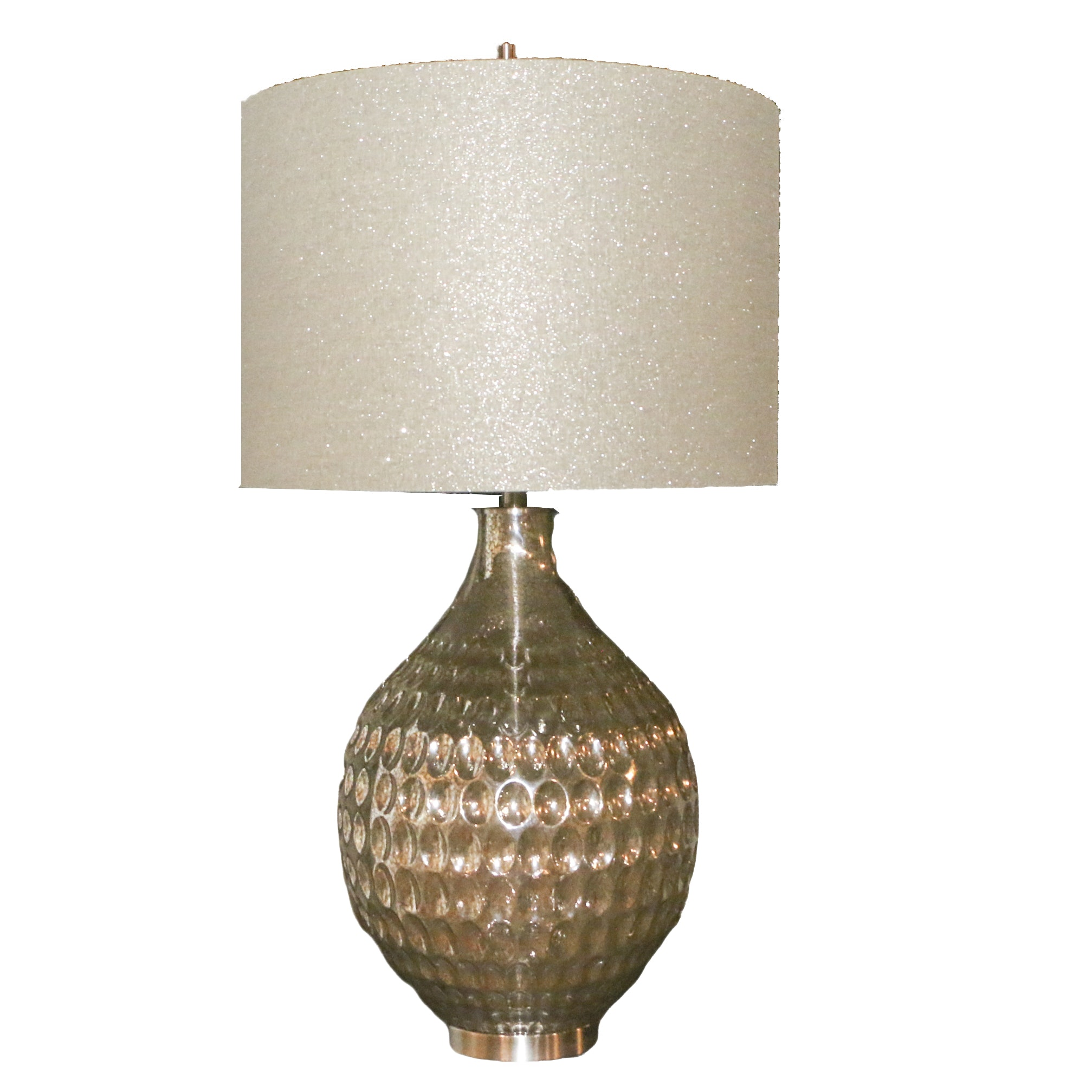 Metallic Table Lamp with Barrel Shade