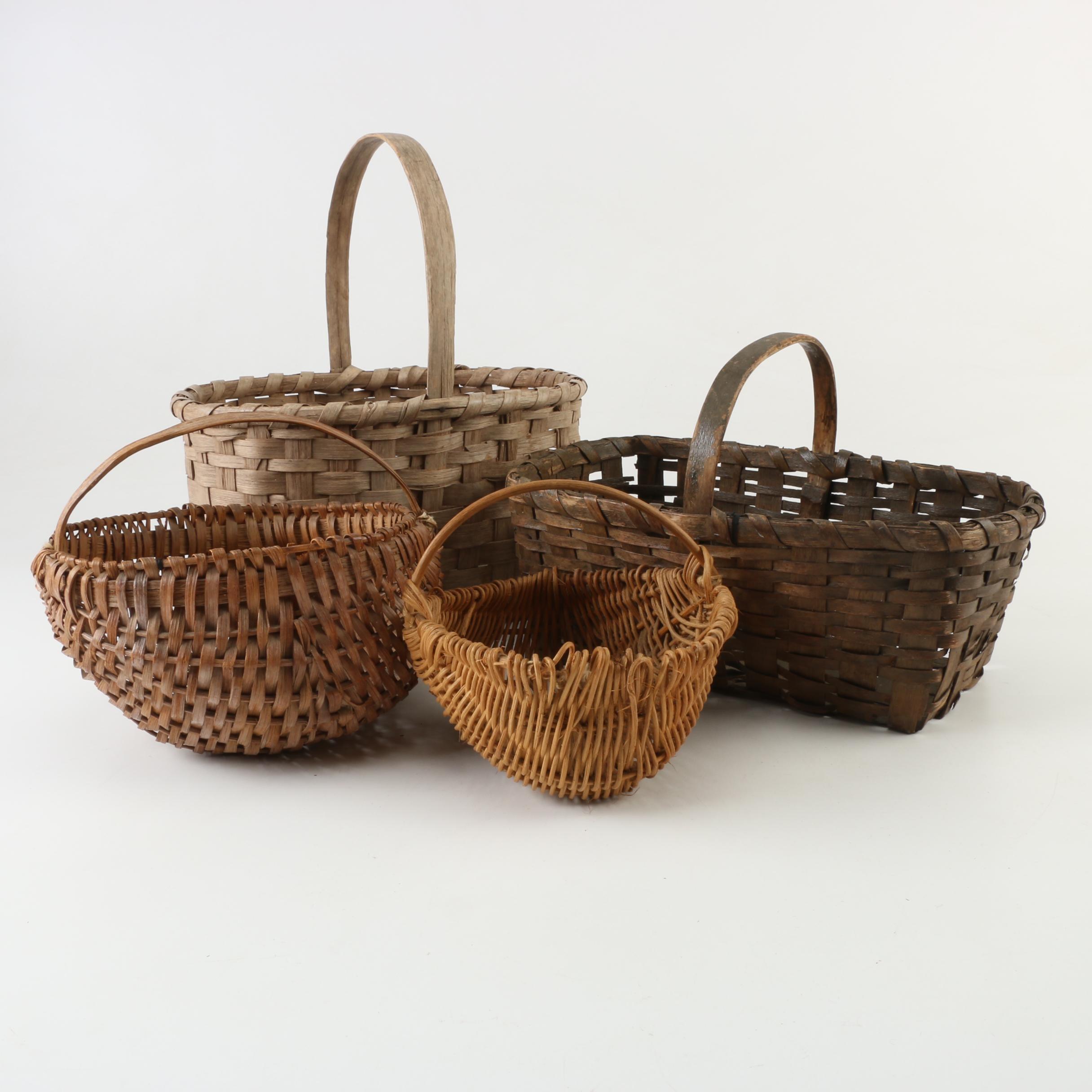 Vintage Handled Storage and Egg Gathering Baskets