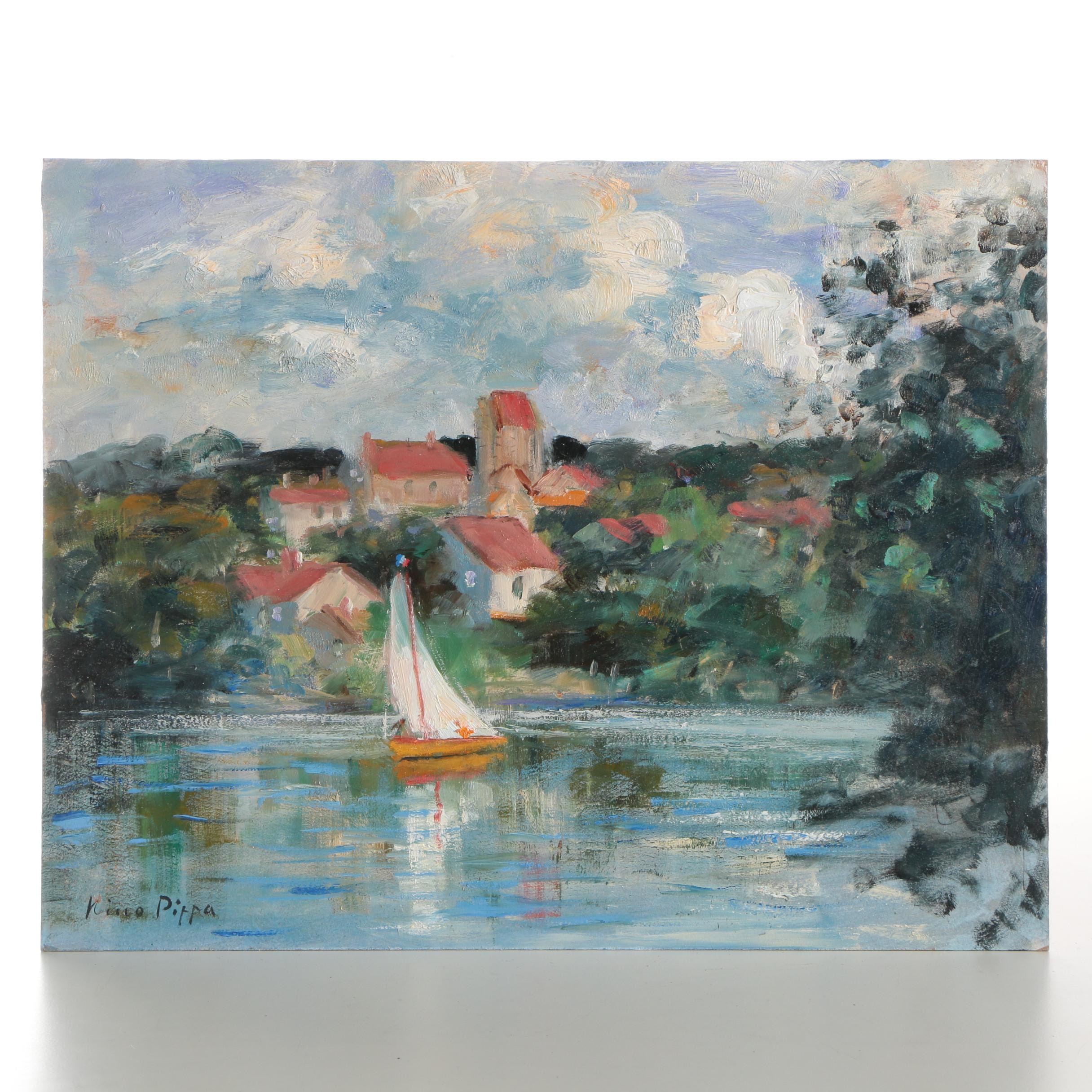 """Nino Pippa Oil Painting """"France - Sailing the Oise River"""""""