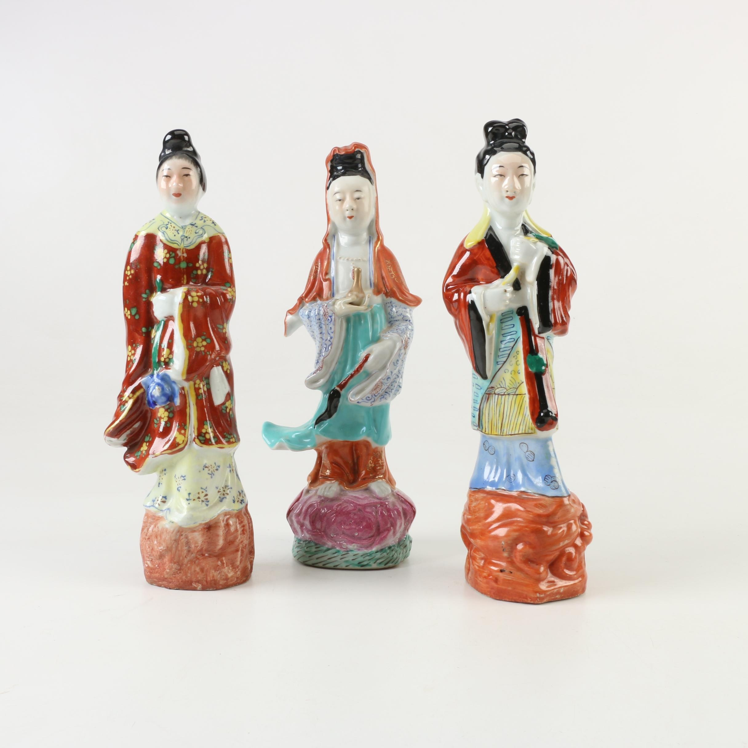Chinese Hand-Painted Ceramic Figurines