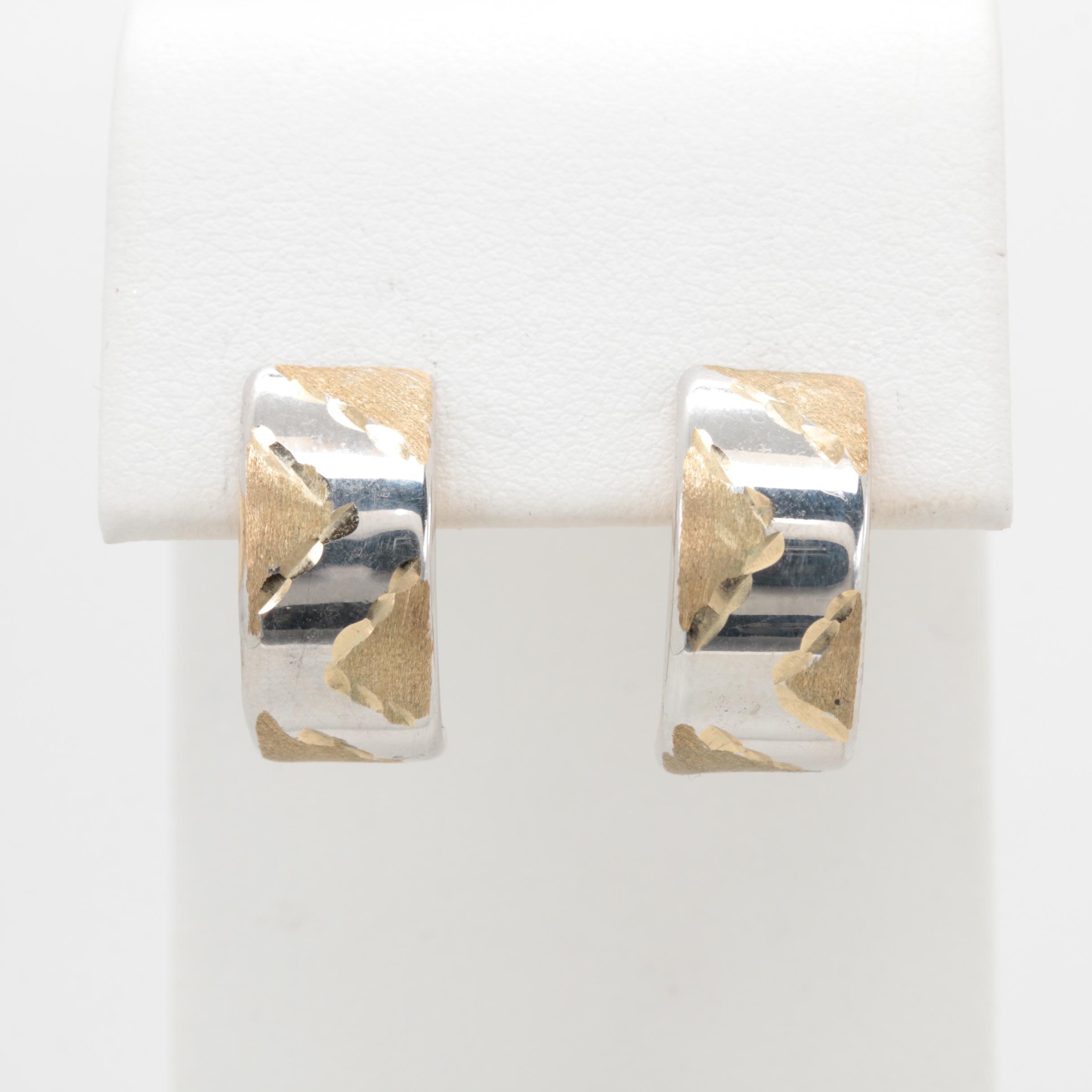 10K Yellow Gold Half Loop Earrings
