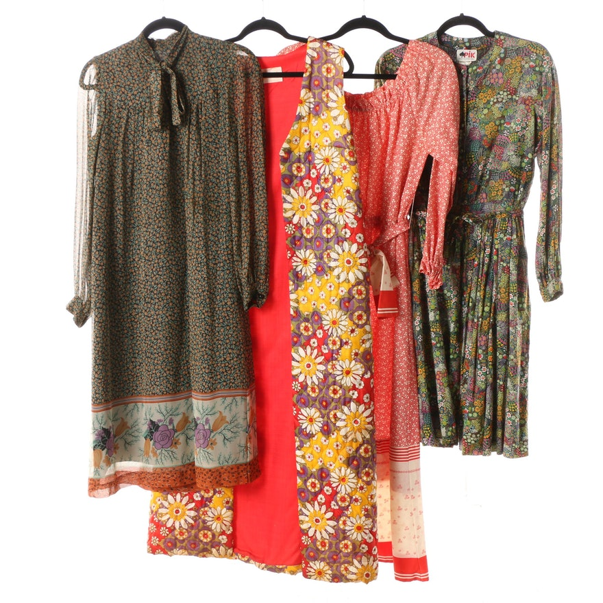 Circa 1970s Printed and Floral Dresses and Quilted Long Duster Vest