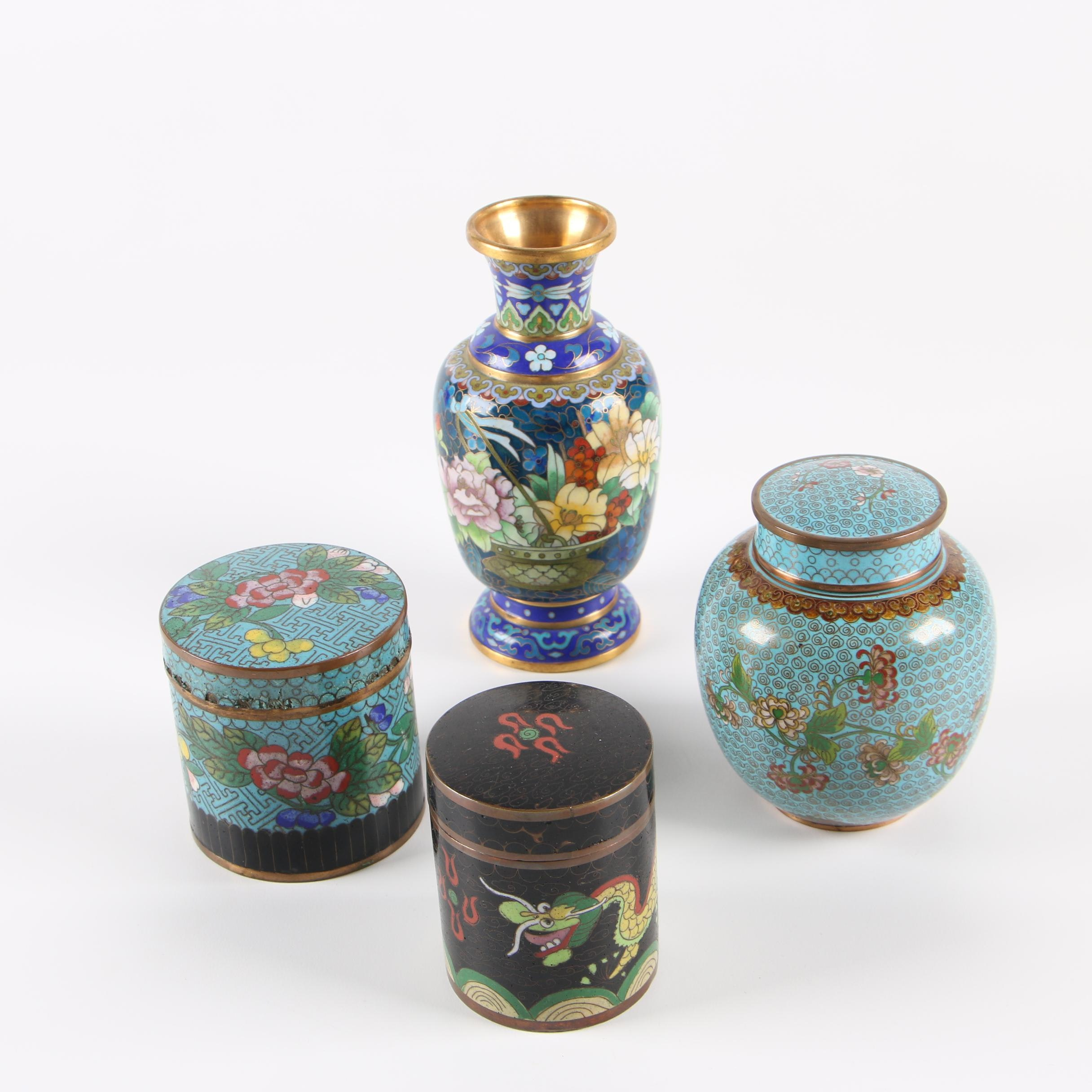 Chinese Cloisonné Jars and Vase with Dragon and Floral Motifs