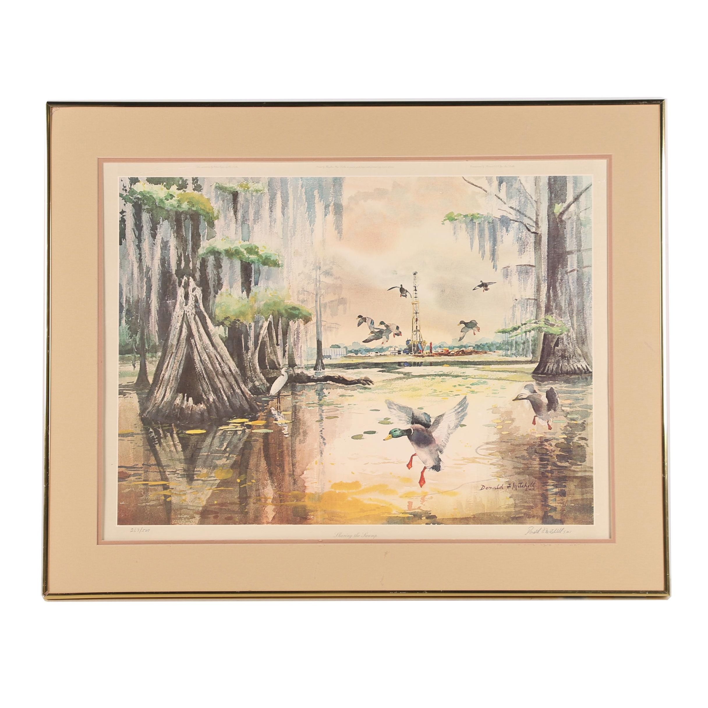 """Donald Mitchell Offset Lithograph """"Sharing the Swamp"""""""