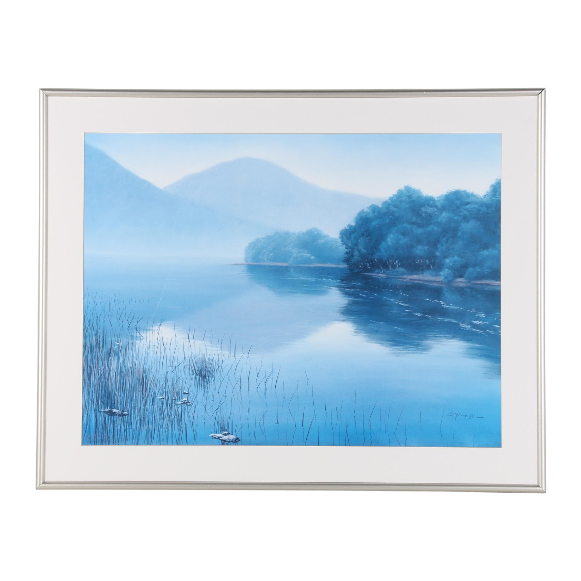 """Offset Lithograph after Stephenson """"Quiet Lake"""""""