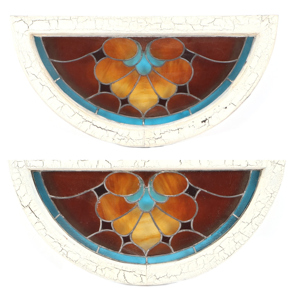 Pair of Matching Stained Glass Window Hangings