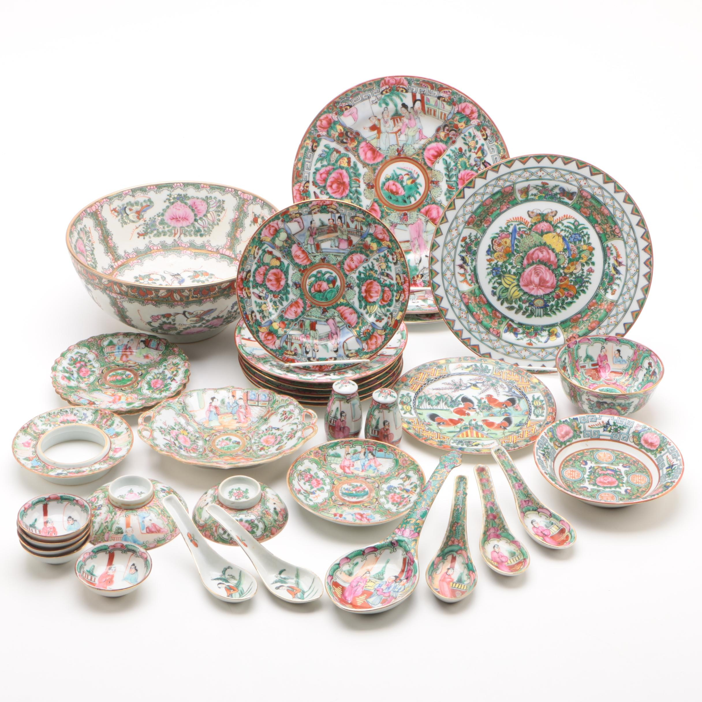 """Chinese """"Rose Medallion"""" and """"Rose Canton"""" Hand-Painted  Porcelain Dinnerware"""