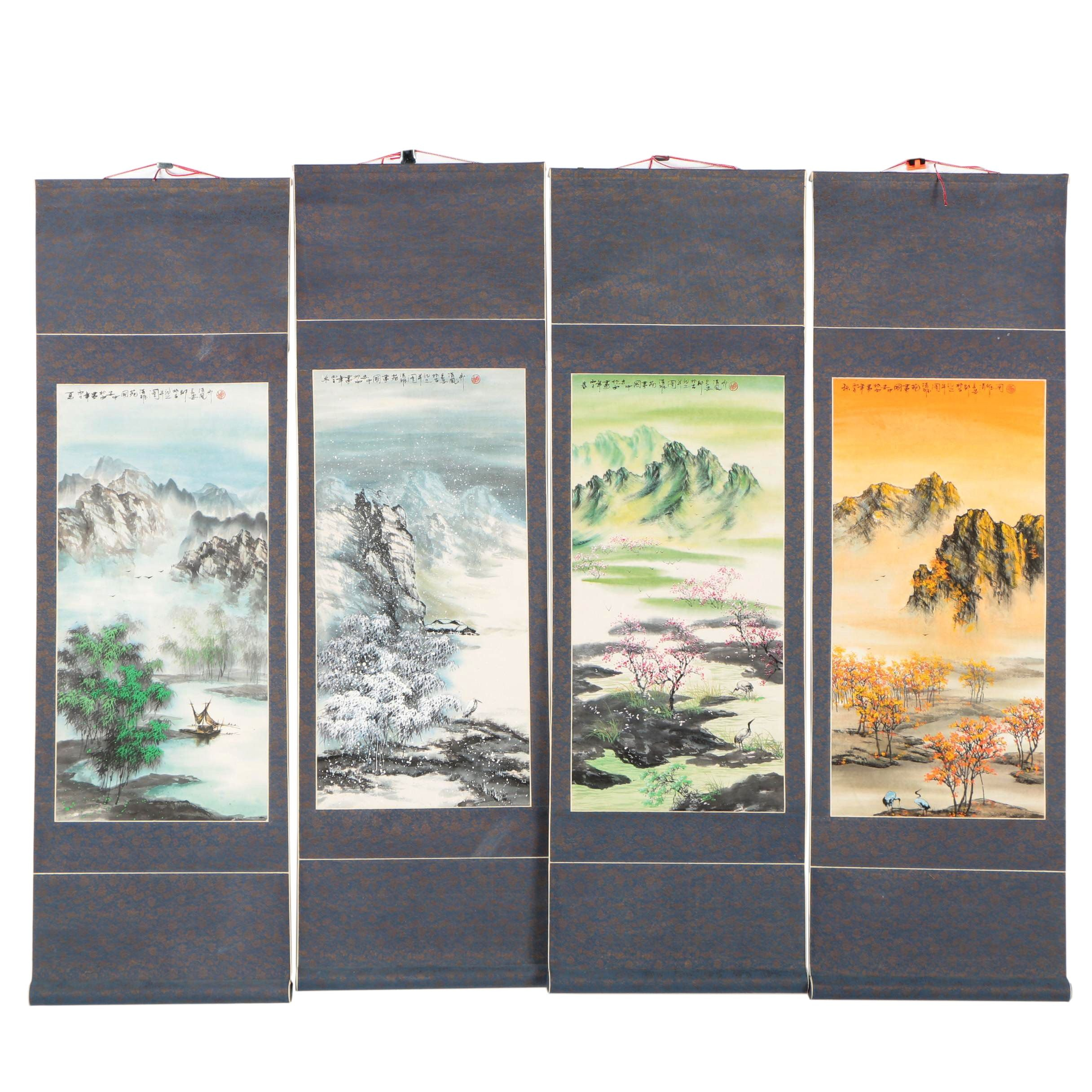 Chinese Watercolor and Ink Four Seasons Hanging Scrolls