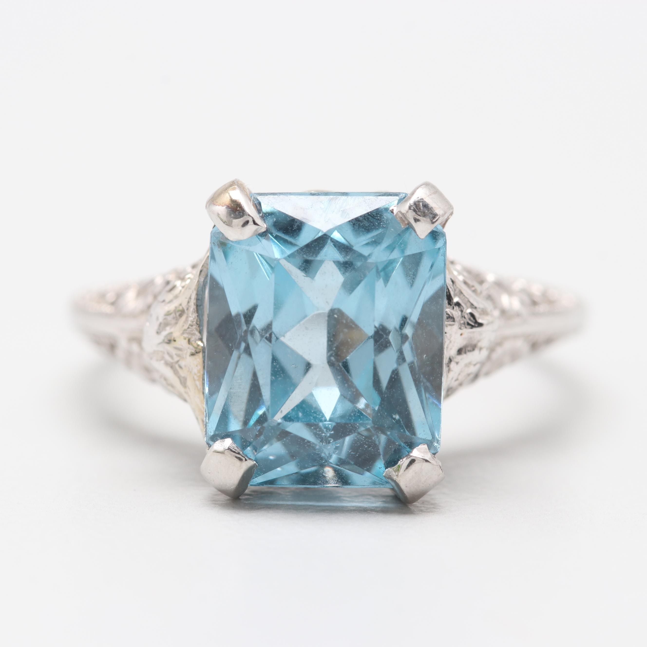 14K White Gold Synthetic Blue Spinel Ring