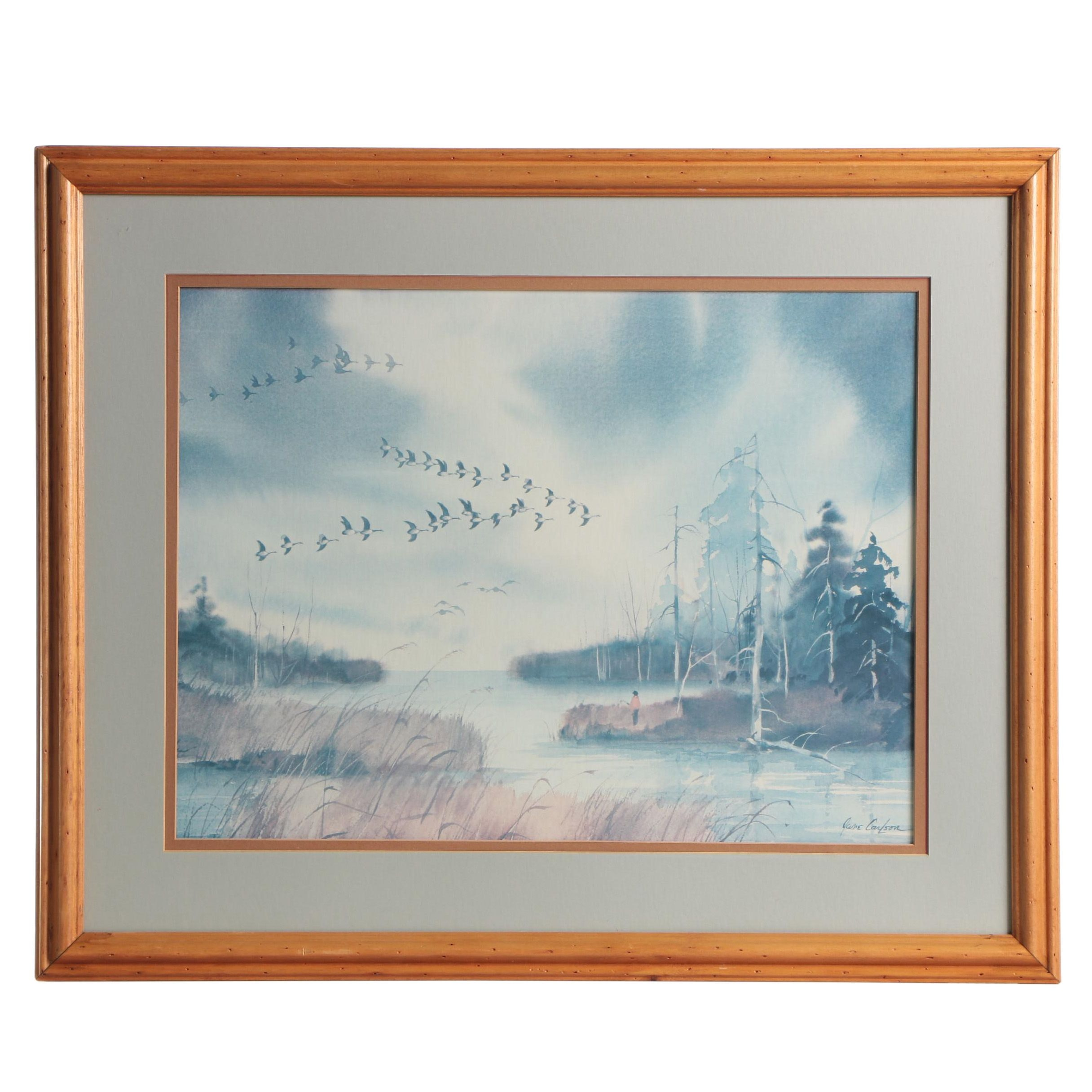 """Offset Lithograph after Jane Carlson """"Flying Geese"""""""