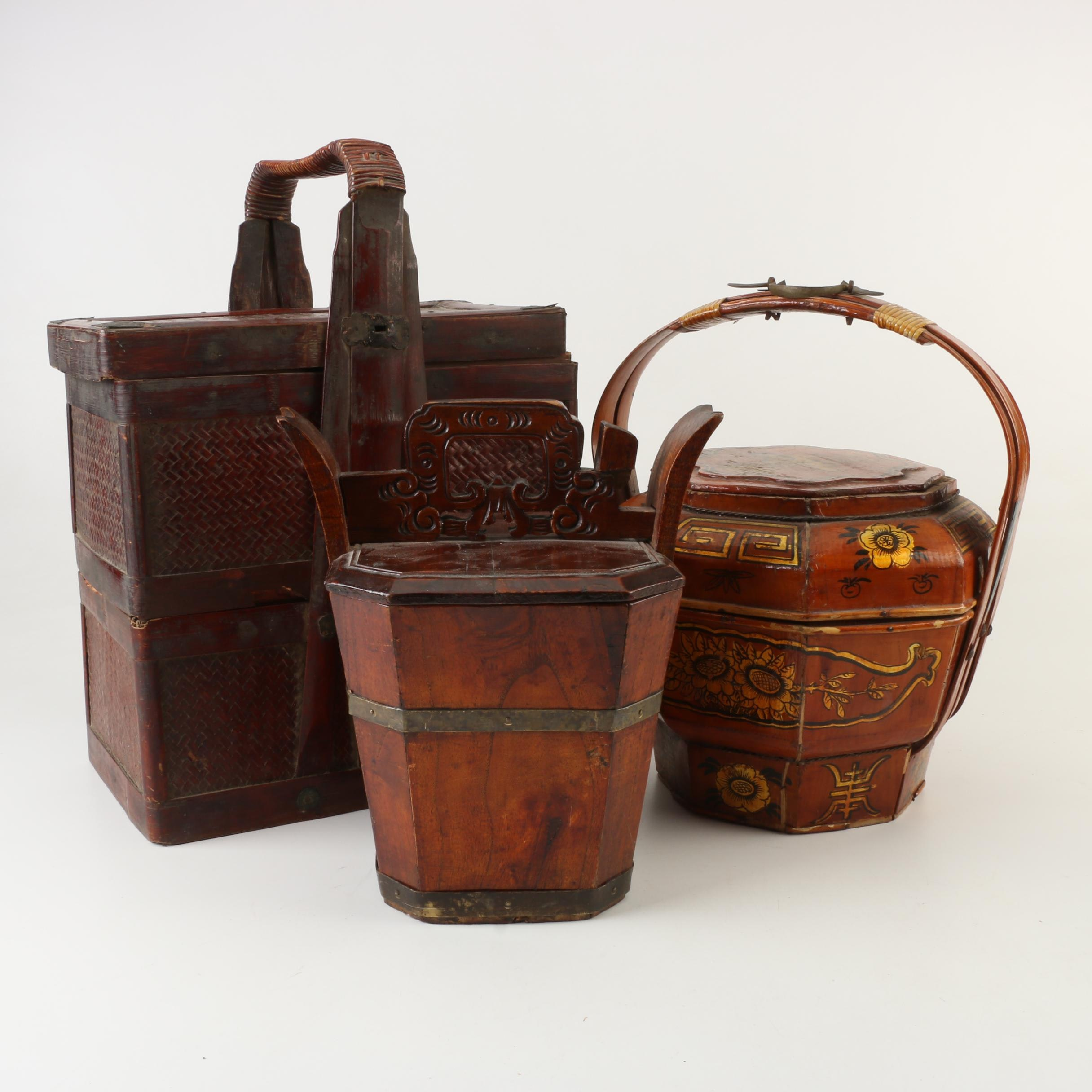 Chinese Wooden Water Bucket and Wedding Baskets