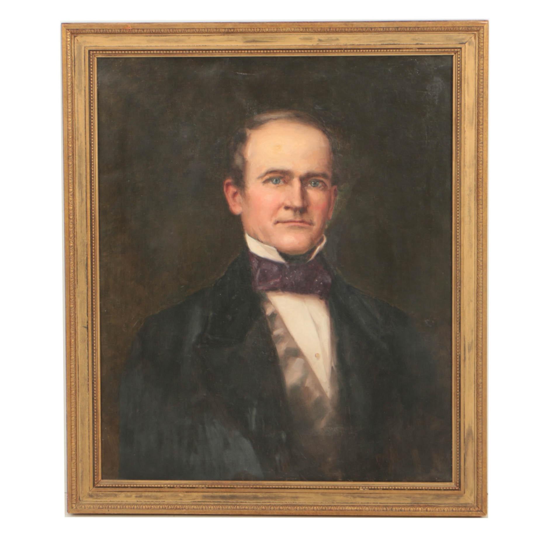 """Antique Oil Portrait on Canvas """"Philip Duncan Elkins"""""""
