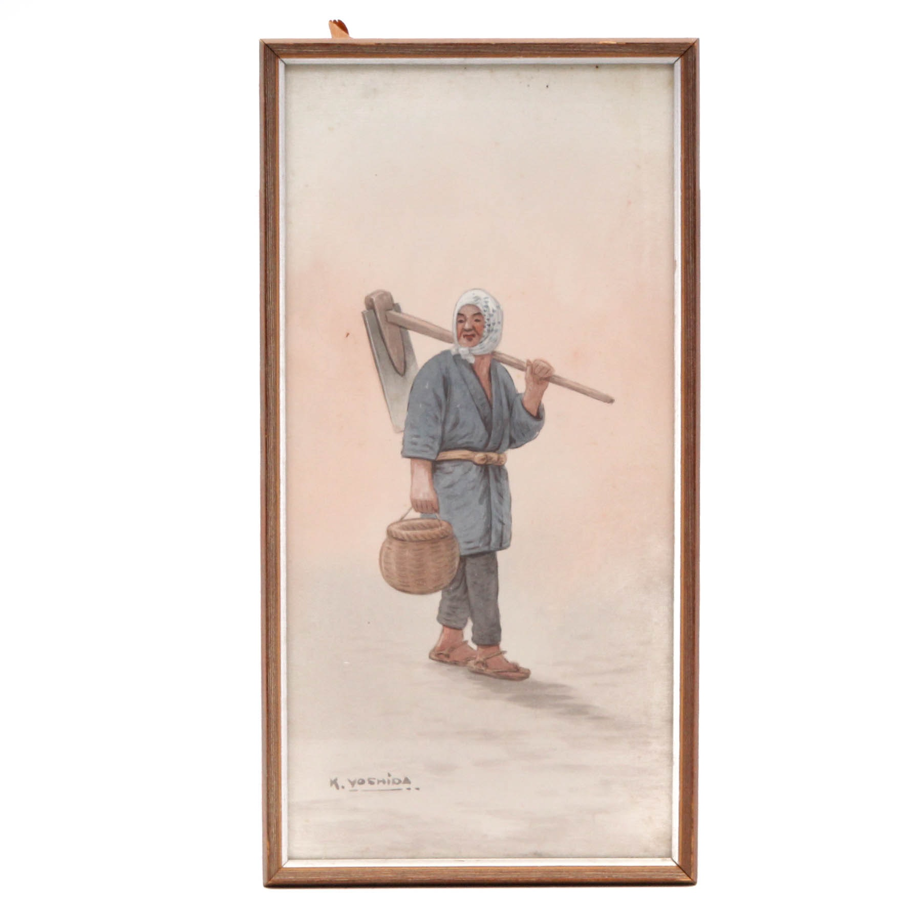 K. Yoshida Vintage Watercolor of Japanese Rice Farmer