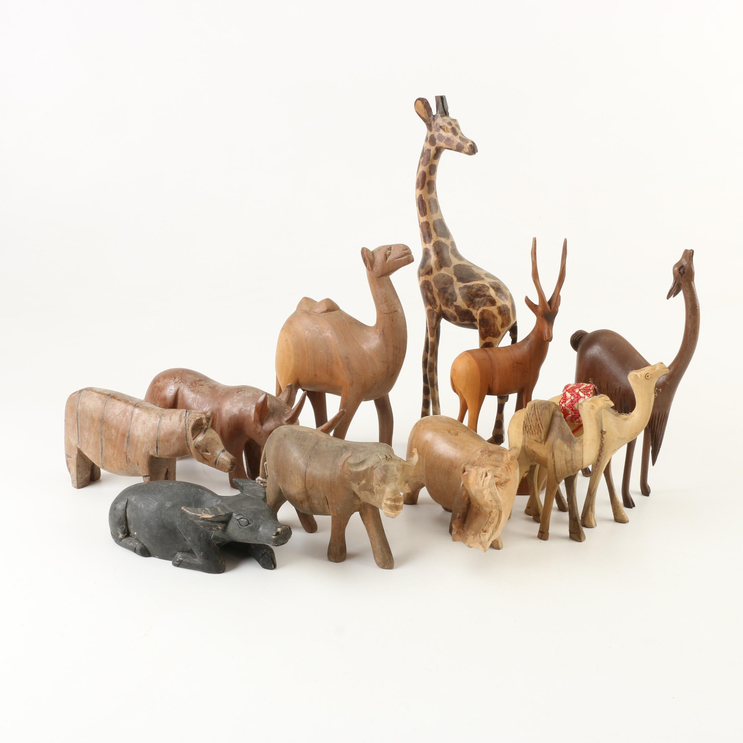 African Hand Carved Wooden Safari Animal Figurines