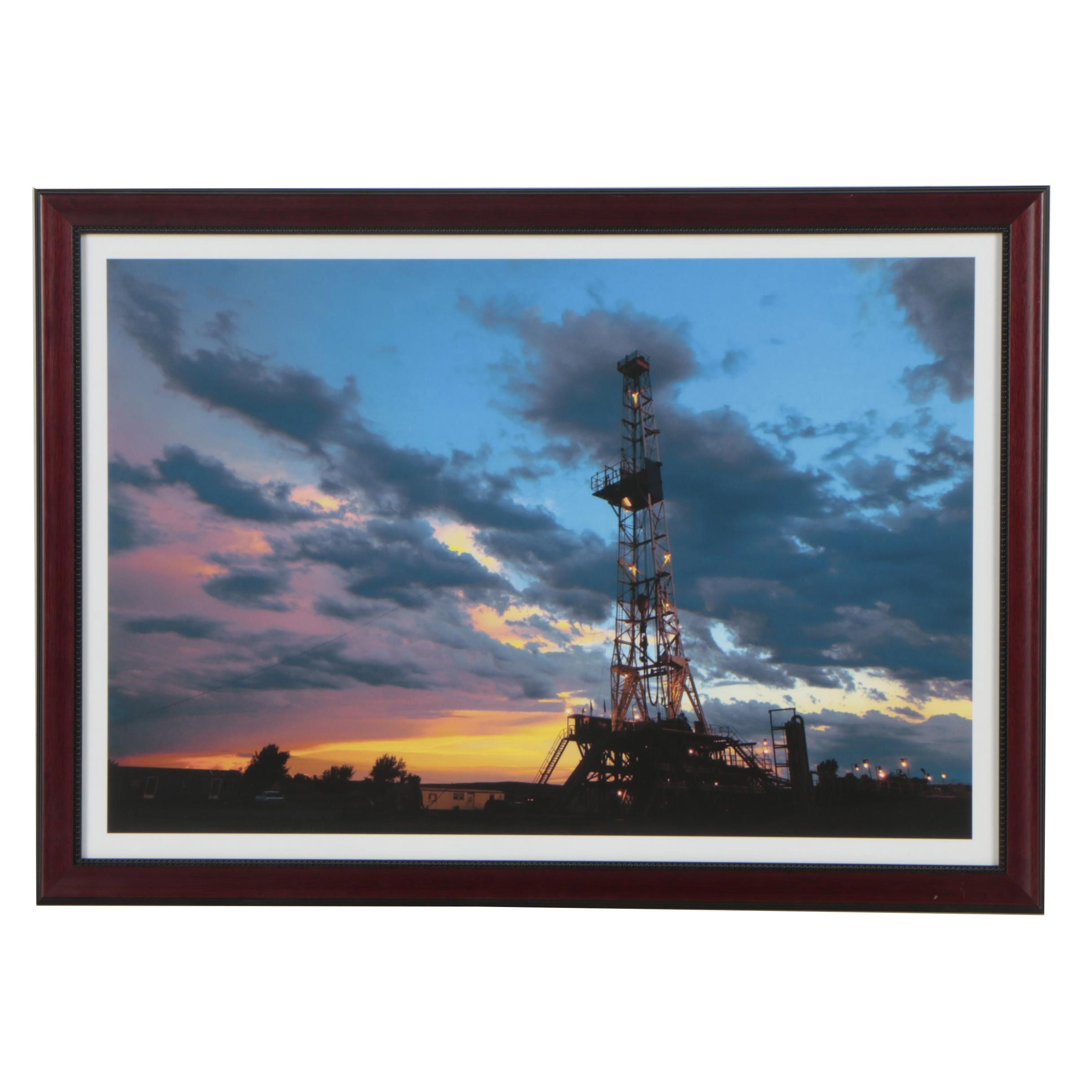 "Jeff Heger Digital Photograph ""Sunset, Oil Rig and Cloudy Skies"""