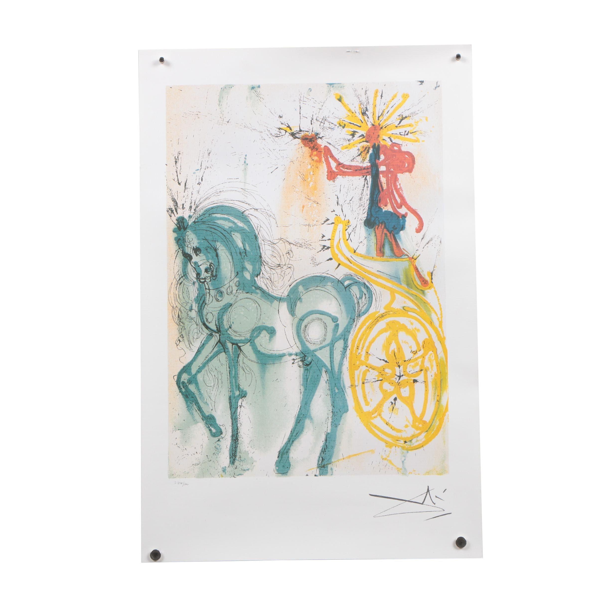 """Offset Lithograph after Salvador Dalí """"Le Cheval de Triomphe"""""""