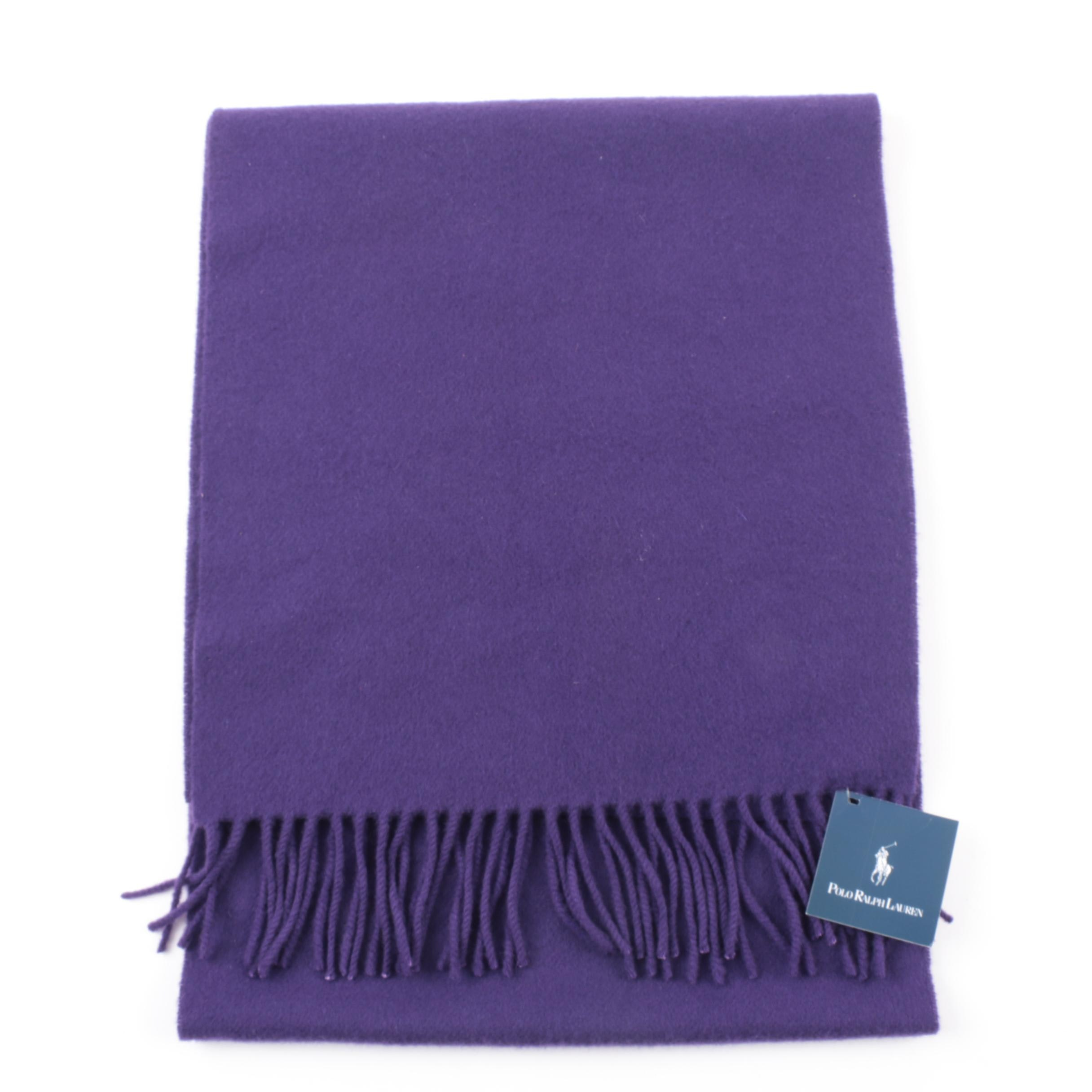 Ralph Lauren Purple Cashmere Fringed Scarf, New With Tag