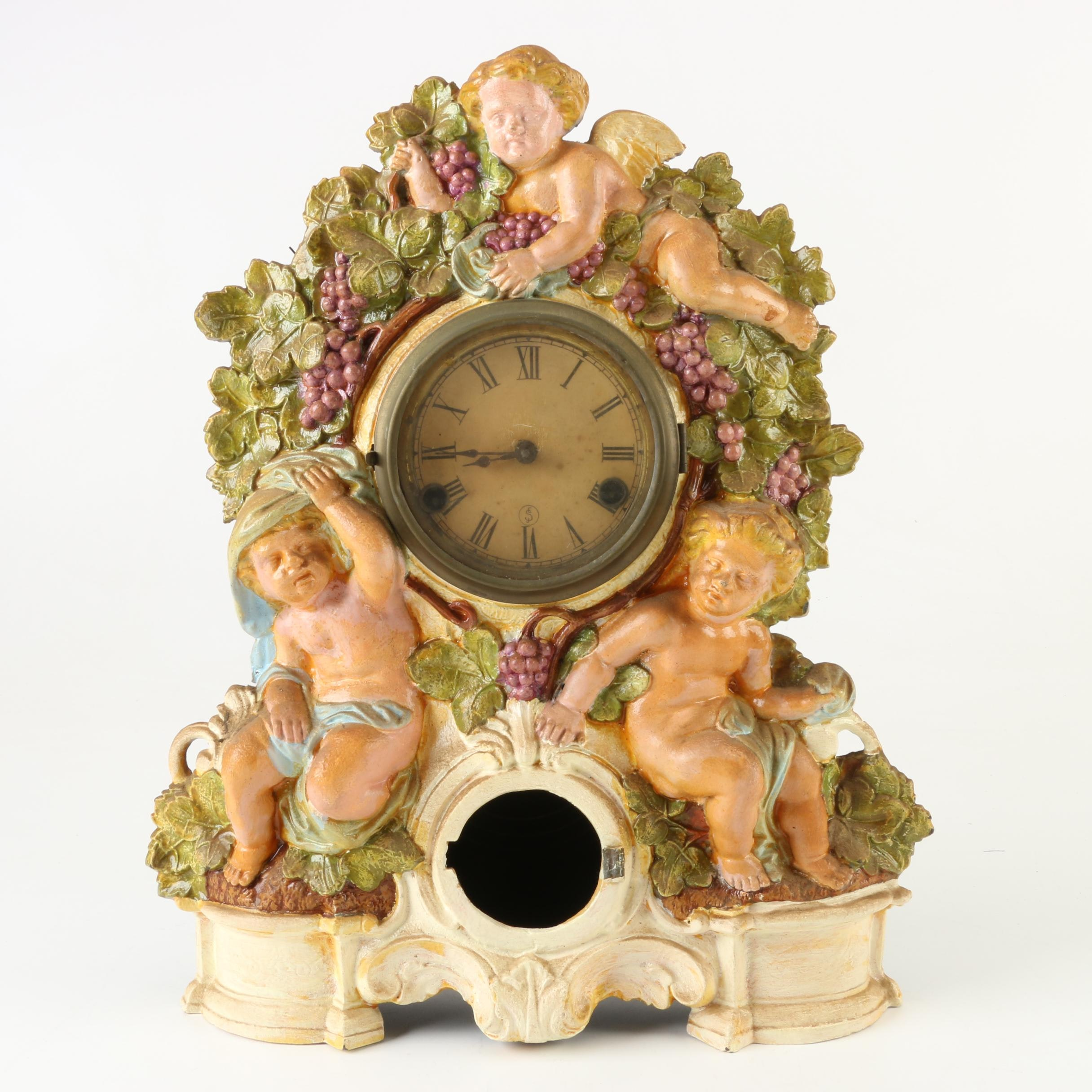 Seth Thomas Cherub and Grape Iron Front Parlor Clock