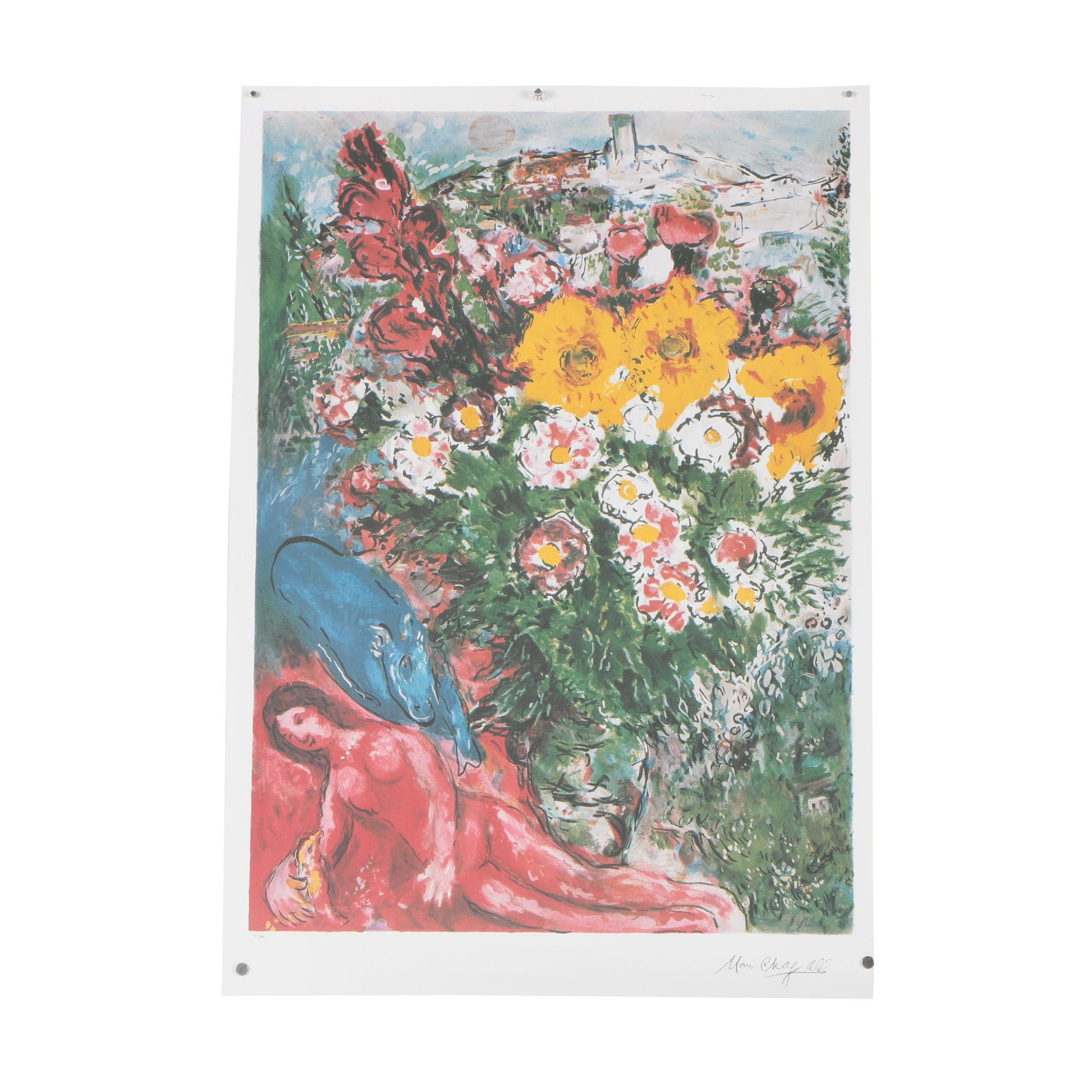 "Offset Lithograph after Marc Chagall ""Les Soucis"""