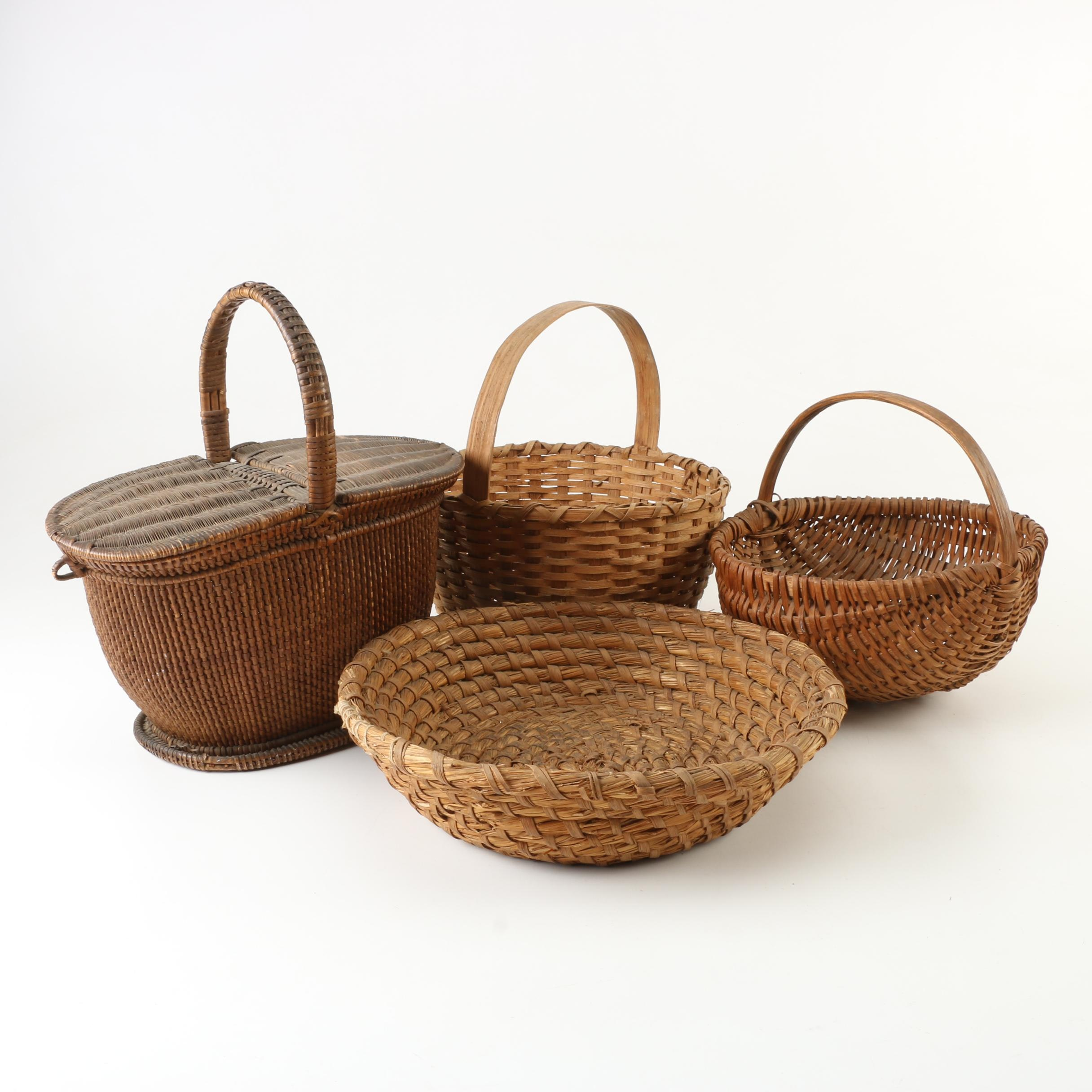 Vintage Picnic and Handled Baskets with Woven Bowl