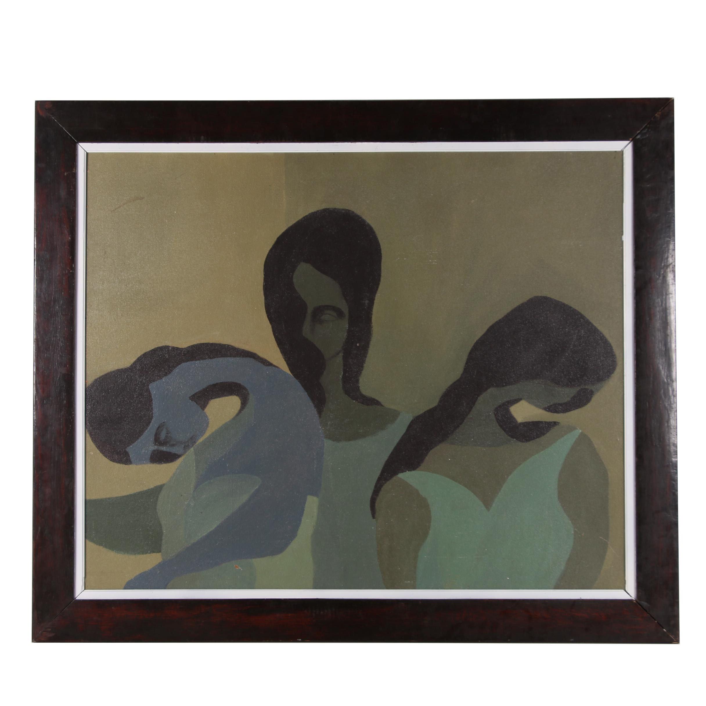"Oscar Murillo Enamel Painting ""Figurative Image of 3 Women"""