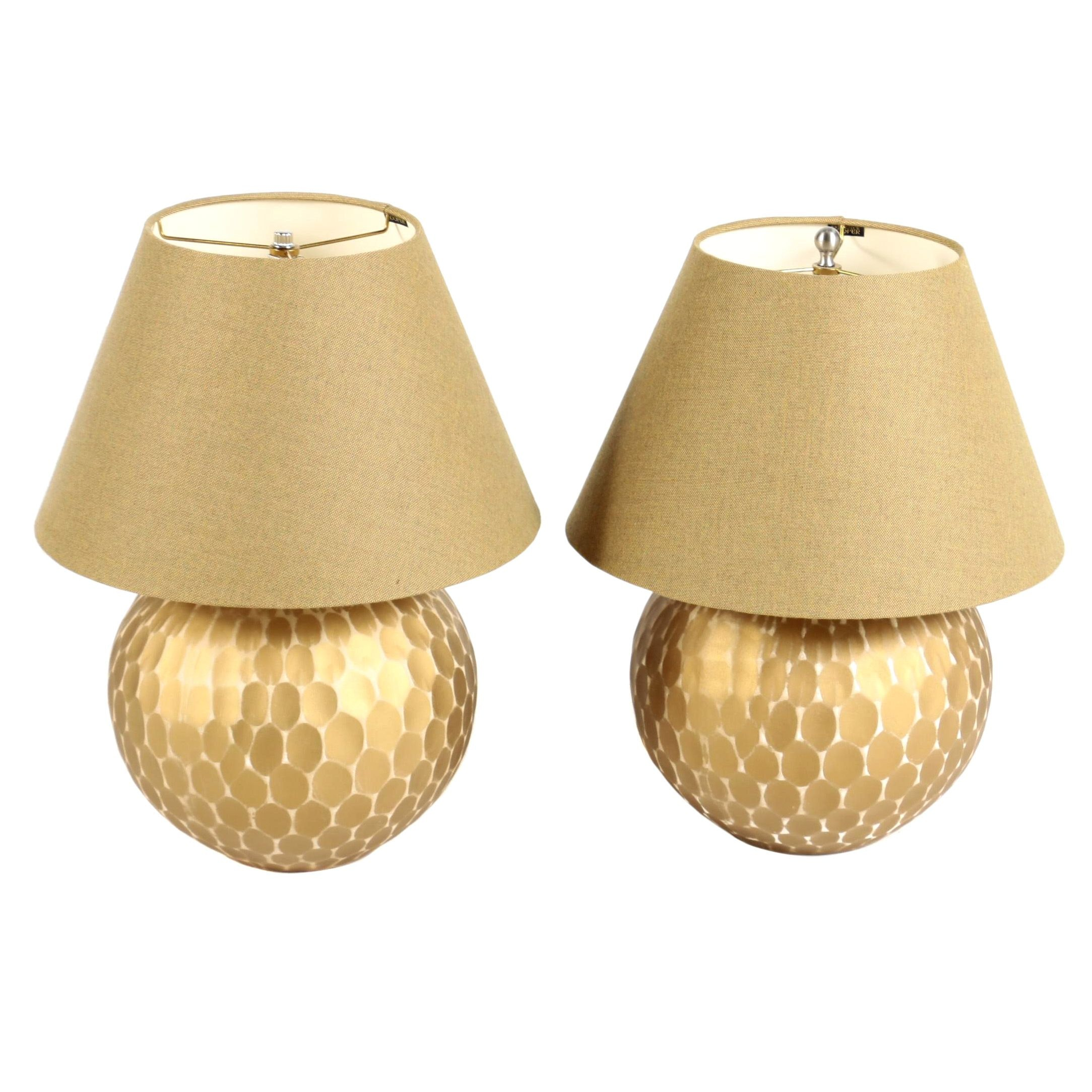 Contemporary Gold Metal Round Table Lamps With Frederick Cooper