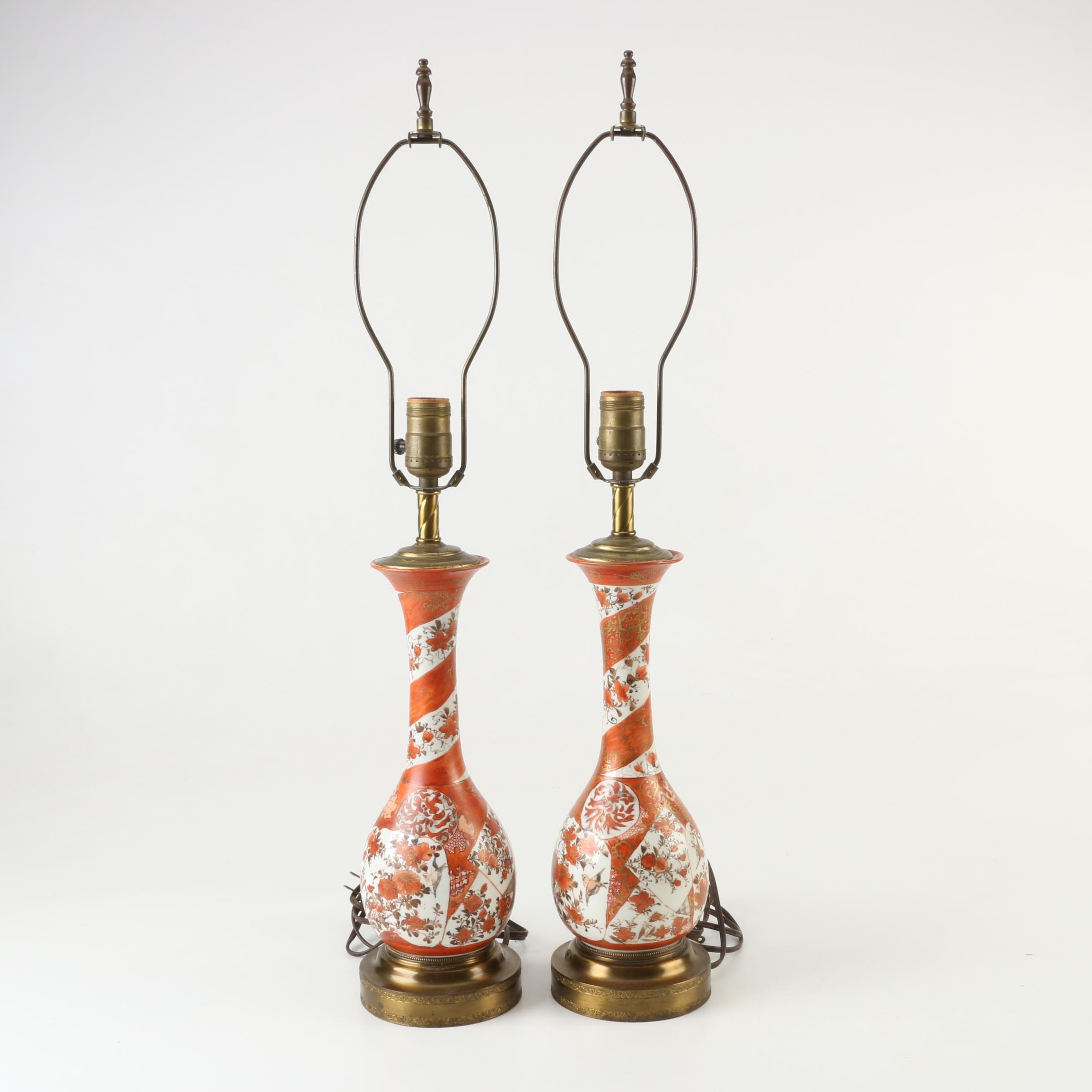 Turn of the Century Hand-Decorated Japanese Vase Table Lamps