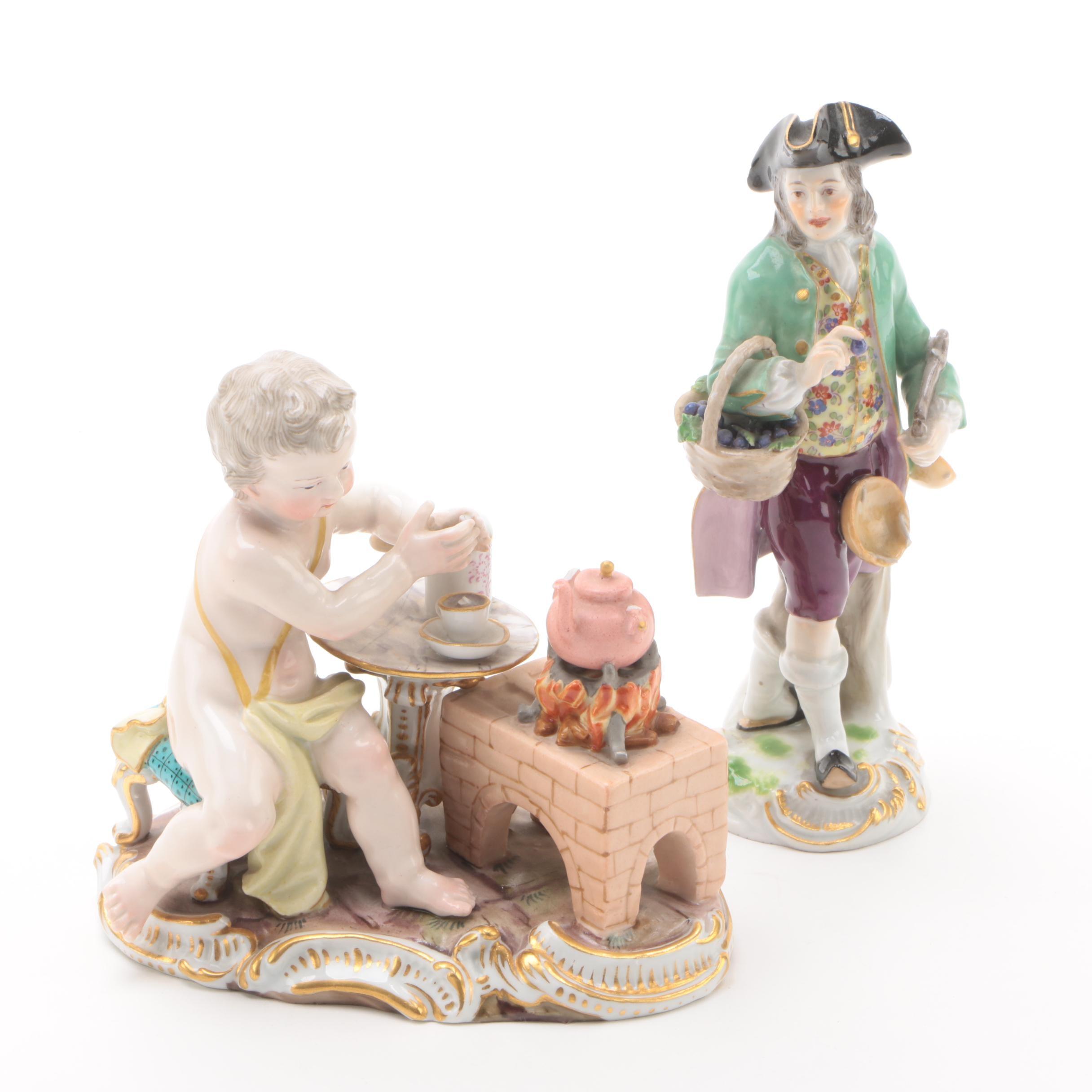19th Century Meissen Porcelain Figurines